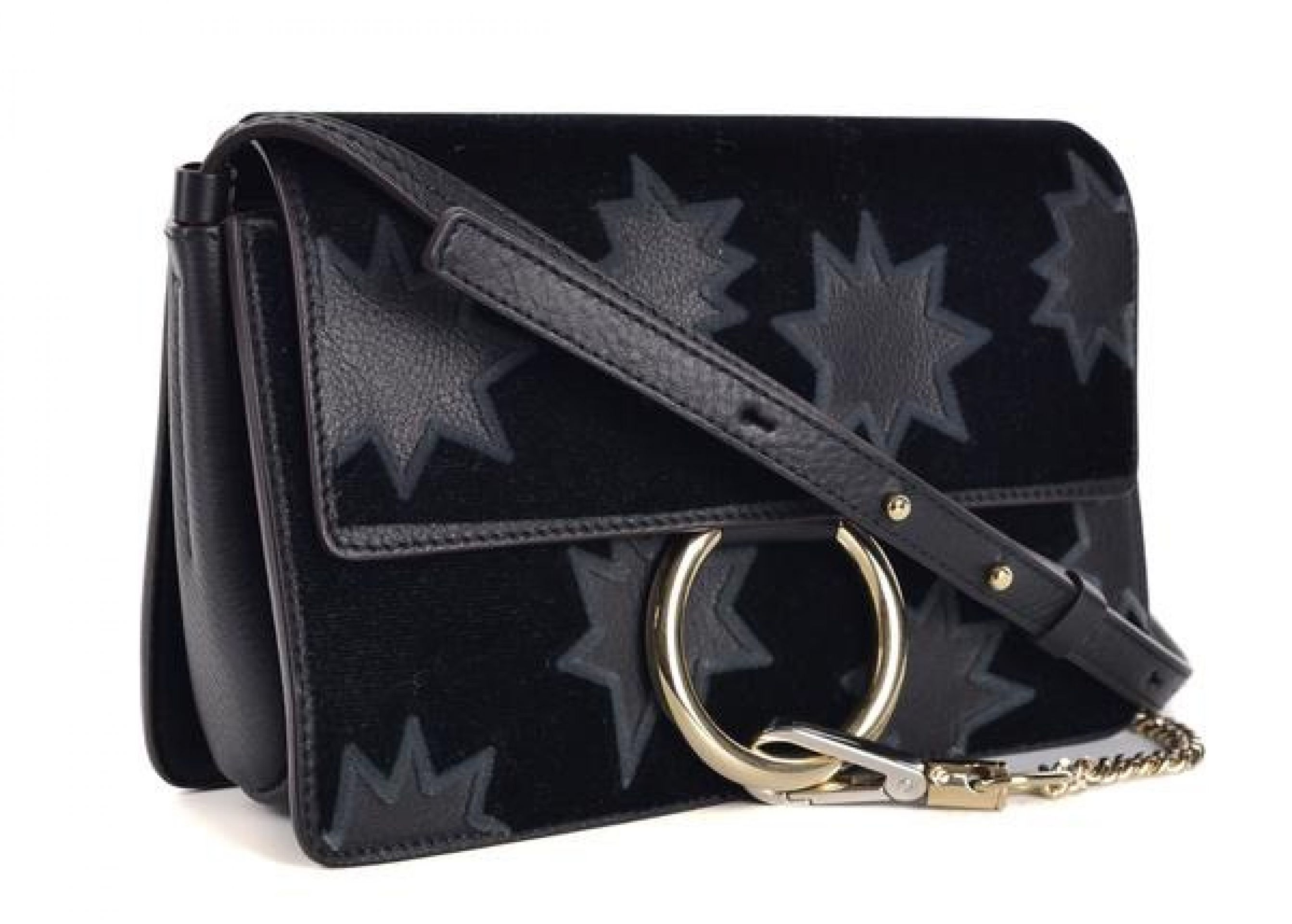 CHLOE BLACK LEATHER FAYE STARS EMBROIDERY CROSSBODY SHOULDER BAG