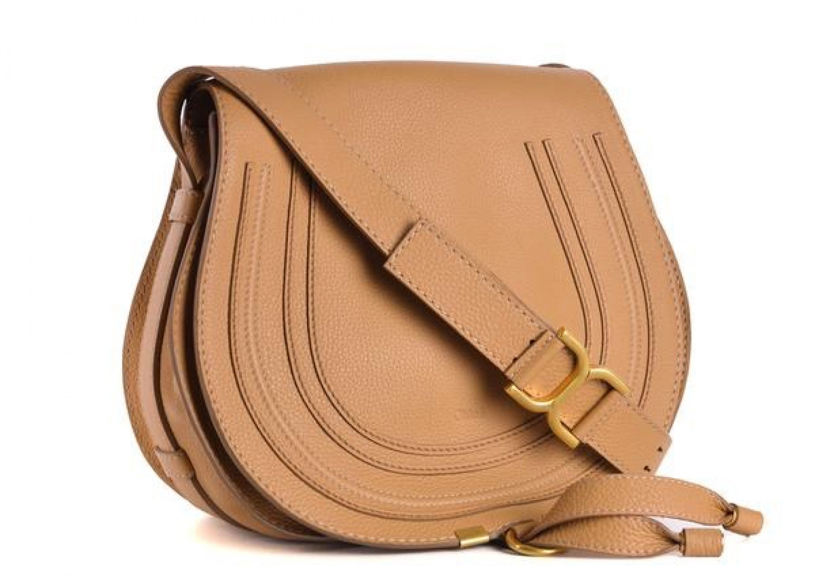 CHLOE COFFEE BROWN LEATHER MARCIE MEDIUM CROSSBODY SHOULDER BAG