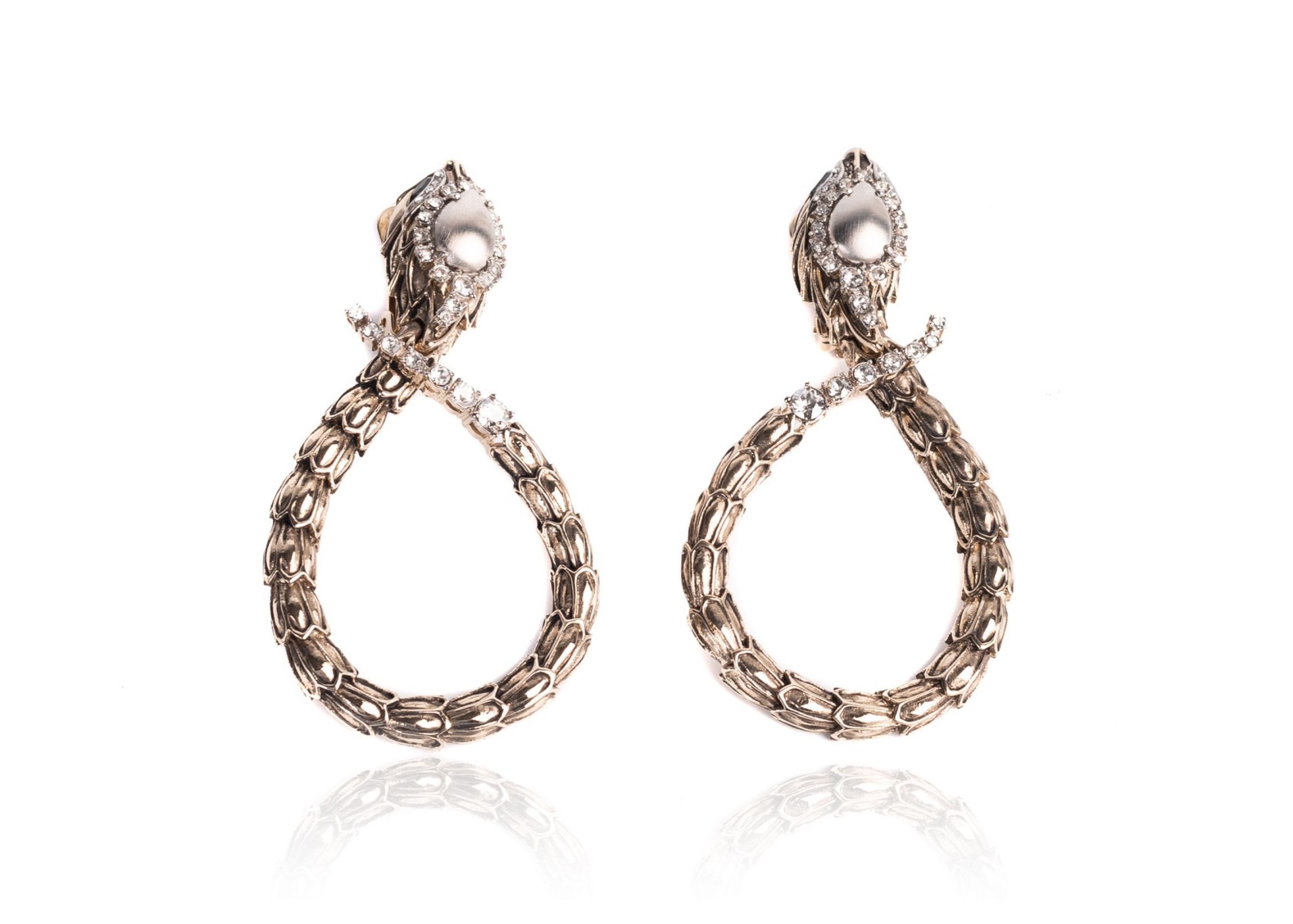 ROBERTO CAVALLI AGED GOLD SERPENT SNAKE CLIP ON EARRINGS