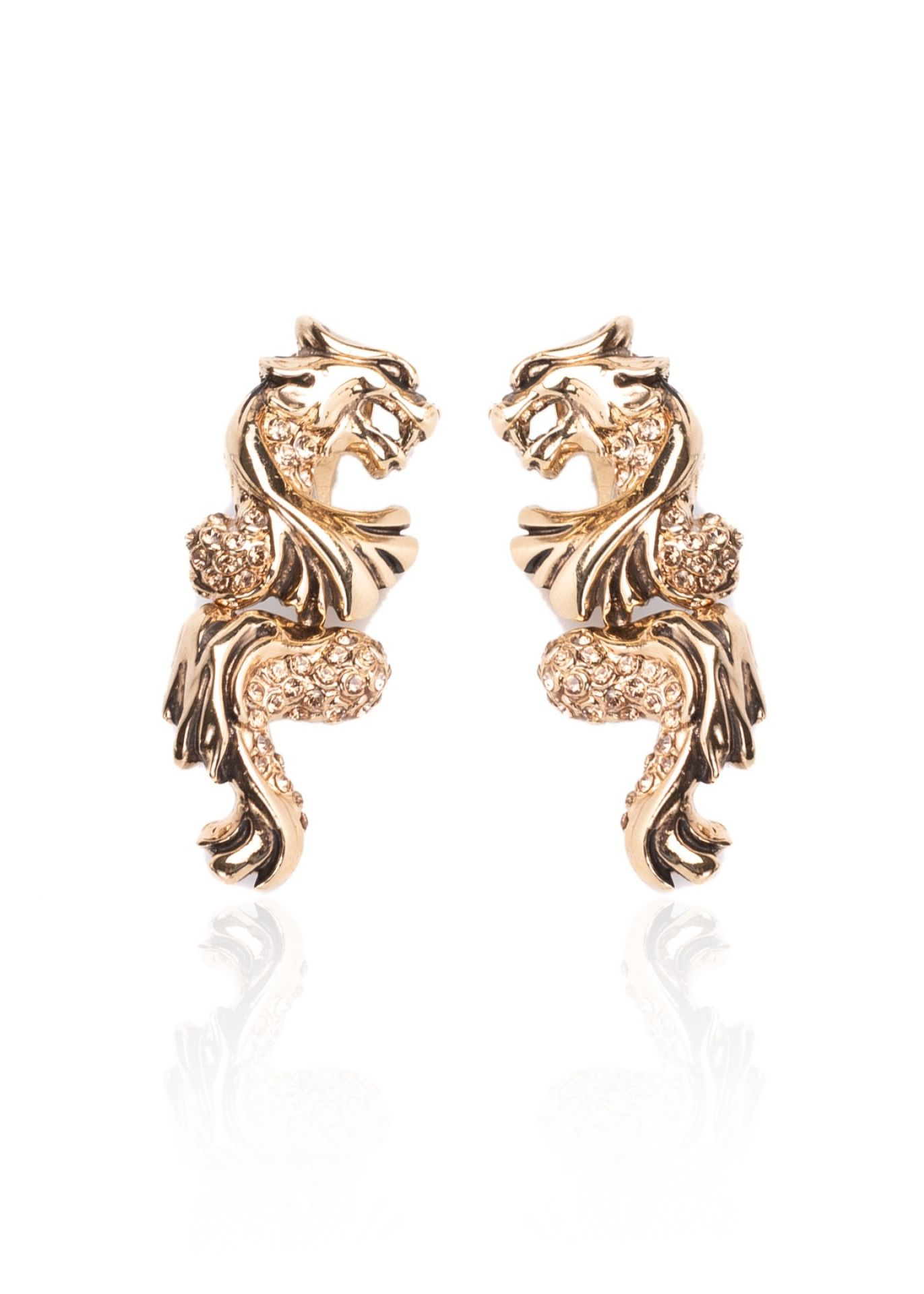 ROBERTO CAVALLI GOLD TIGER SWAROVSKI CLIP ON EARRINGS