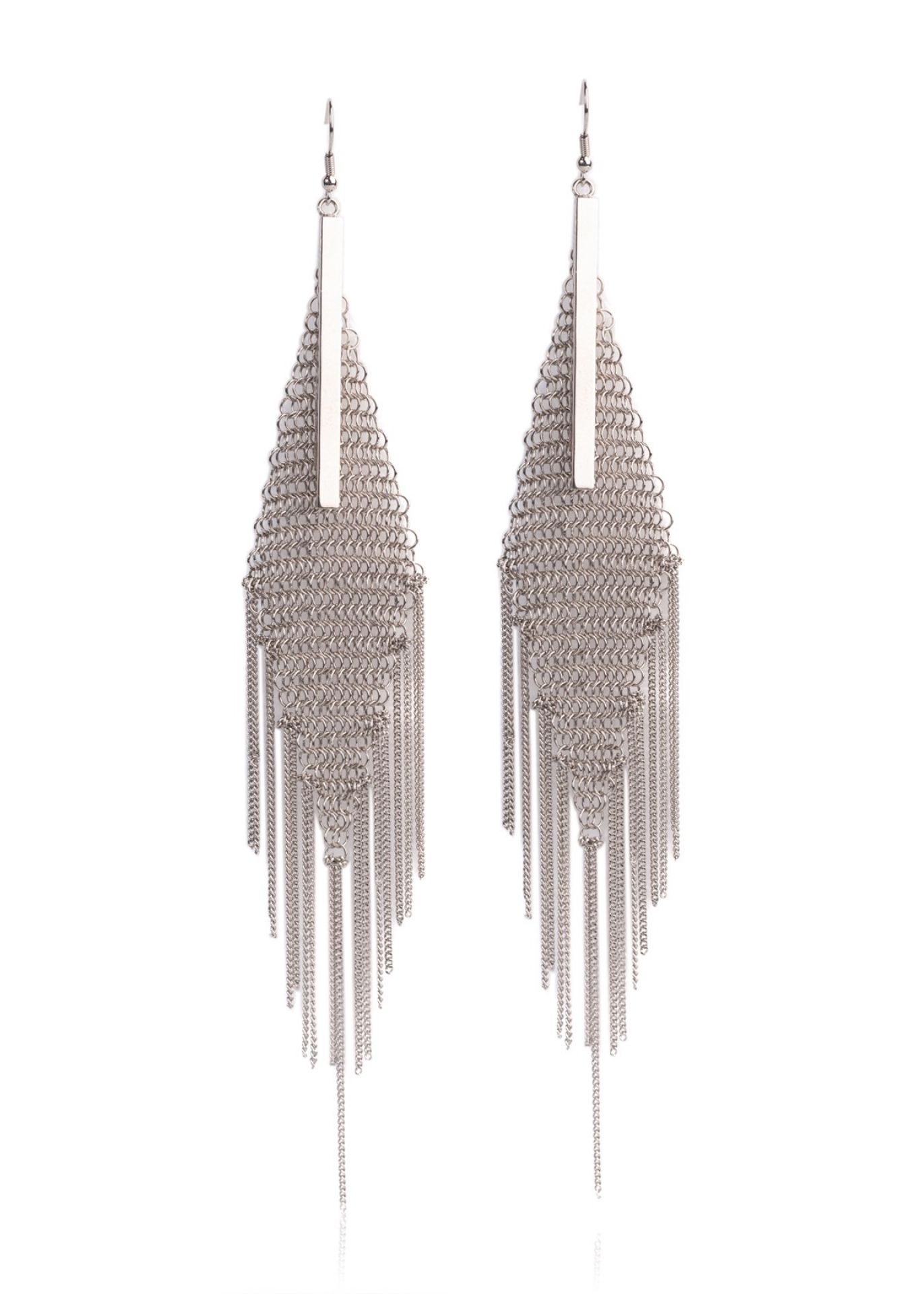 ROBERTO CAVALLI STERLING SILVER DIAMOND DROP EARRINGS