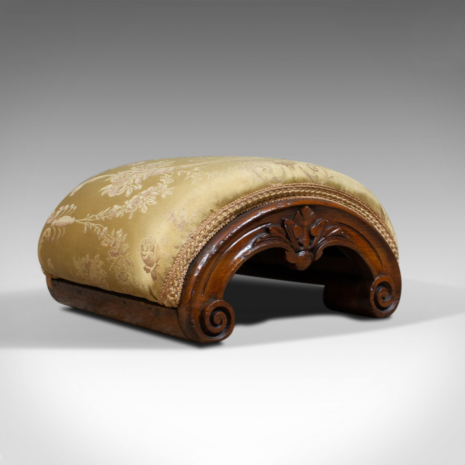 Antique Footstool, English, Victorian, Dome-Topped, Walnut, Carriage Stool c1840