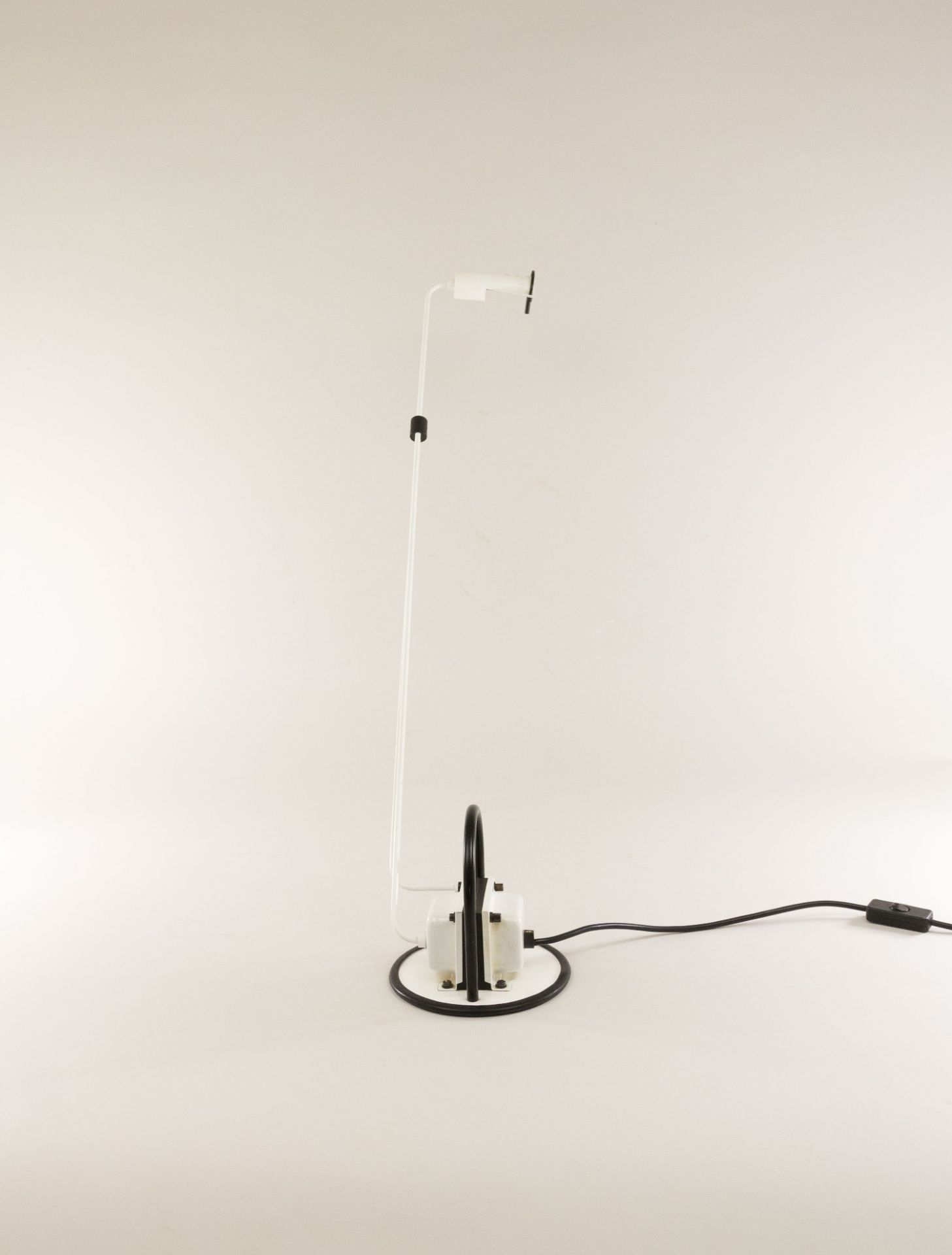 Halogen adjustable white table lamp with black details from Italy, 1970s