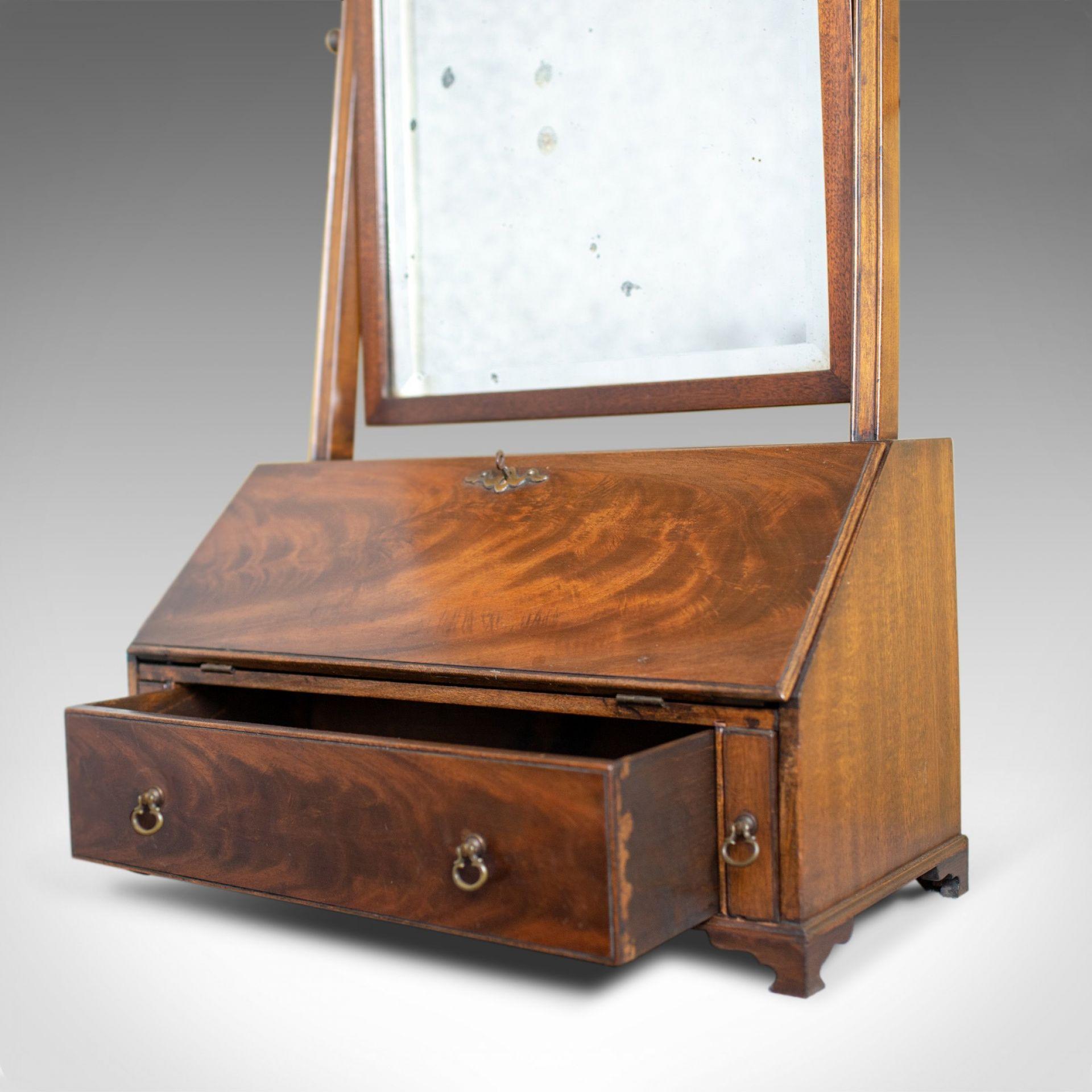 Antique Bureau Mirror, English, Georgian Revival, Mahogany, Toilet Circa 1910