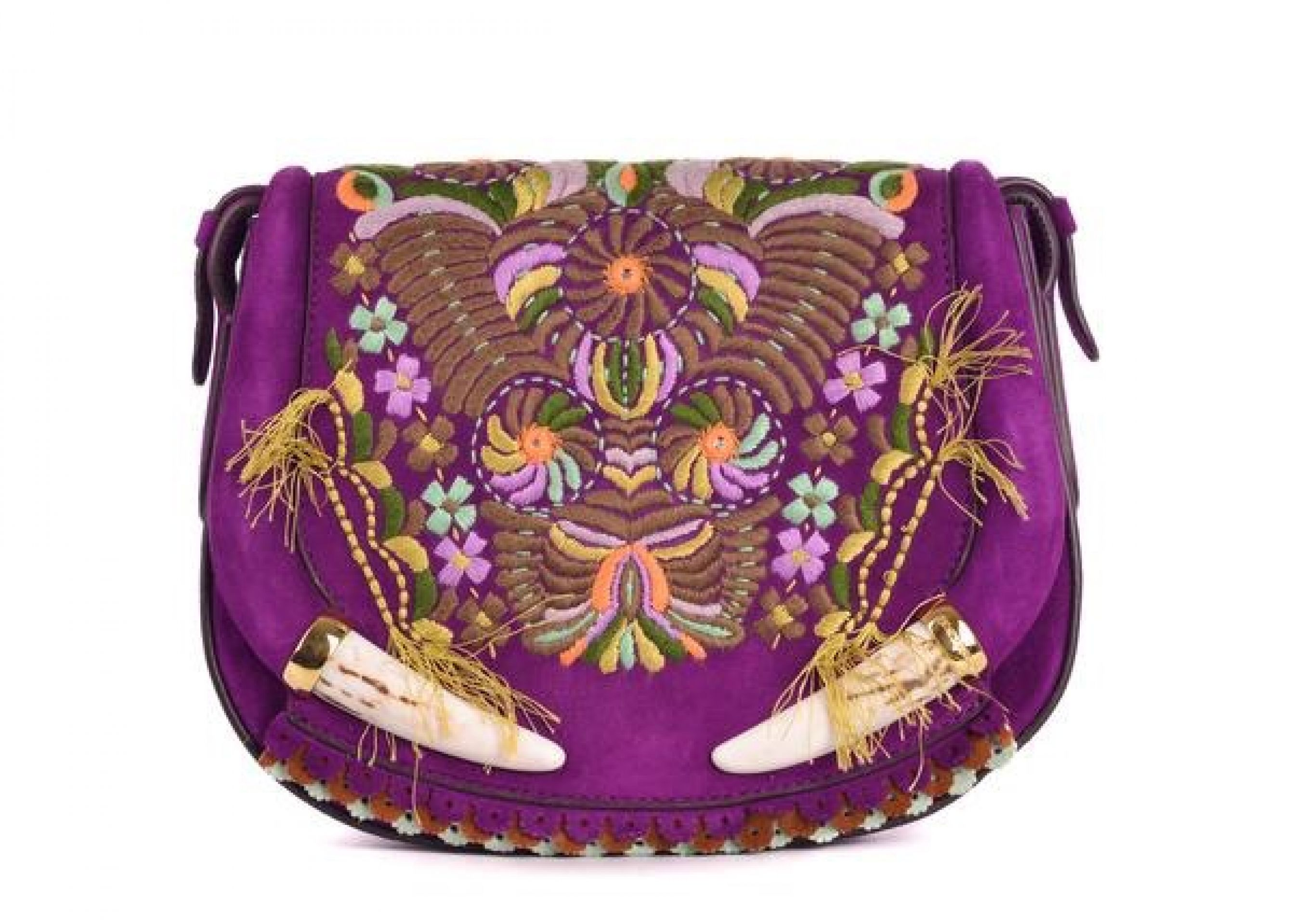 ROBERTO CAVALLI WOMEN PURPLE SUEDE EMBROIDERED FLORAL TUSK SHOULDER BAG