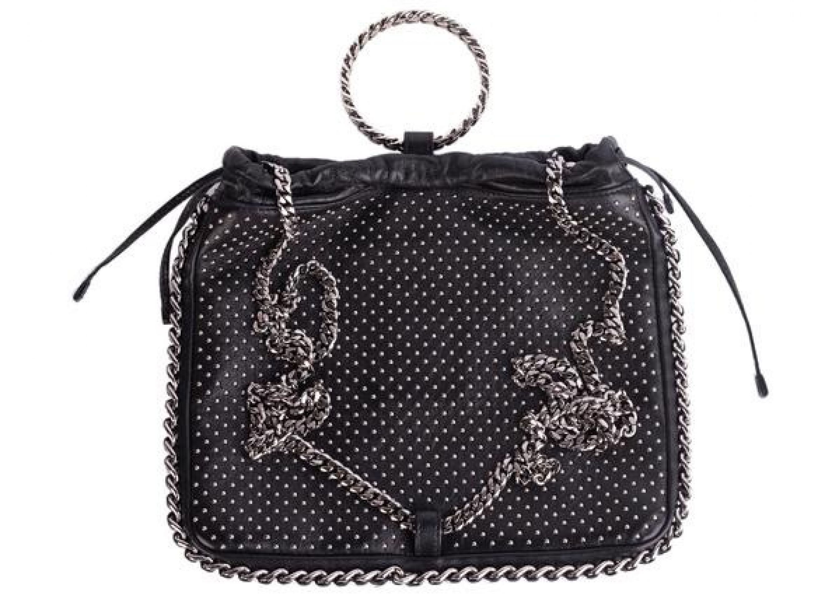 BALMAIN WOMENS BLACK STUDDED LEATHER BRACELET BACKPACK