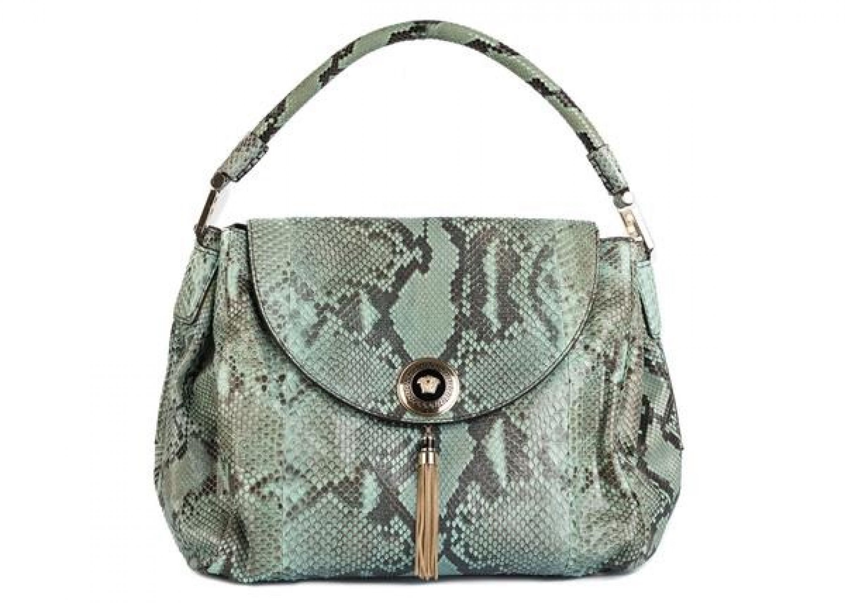 VERSACE WOMENS TEAL LEATHER PYTHON VANITAS ALTEA TOP HANDLE SATCHEL BAG