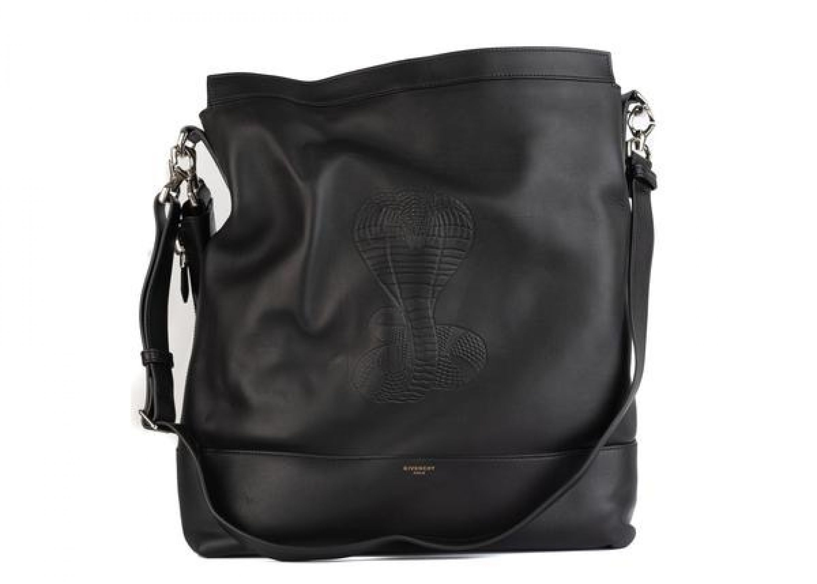 GIVENCHY WOMEN'S BLACK LEATHER COBRA SNAKE EMBOSSED SHOULDER BAG