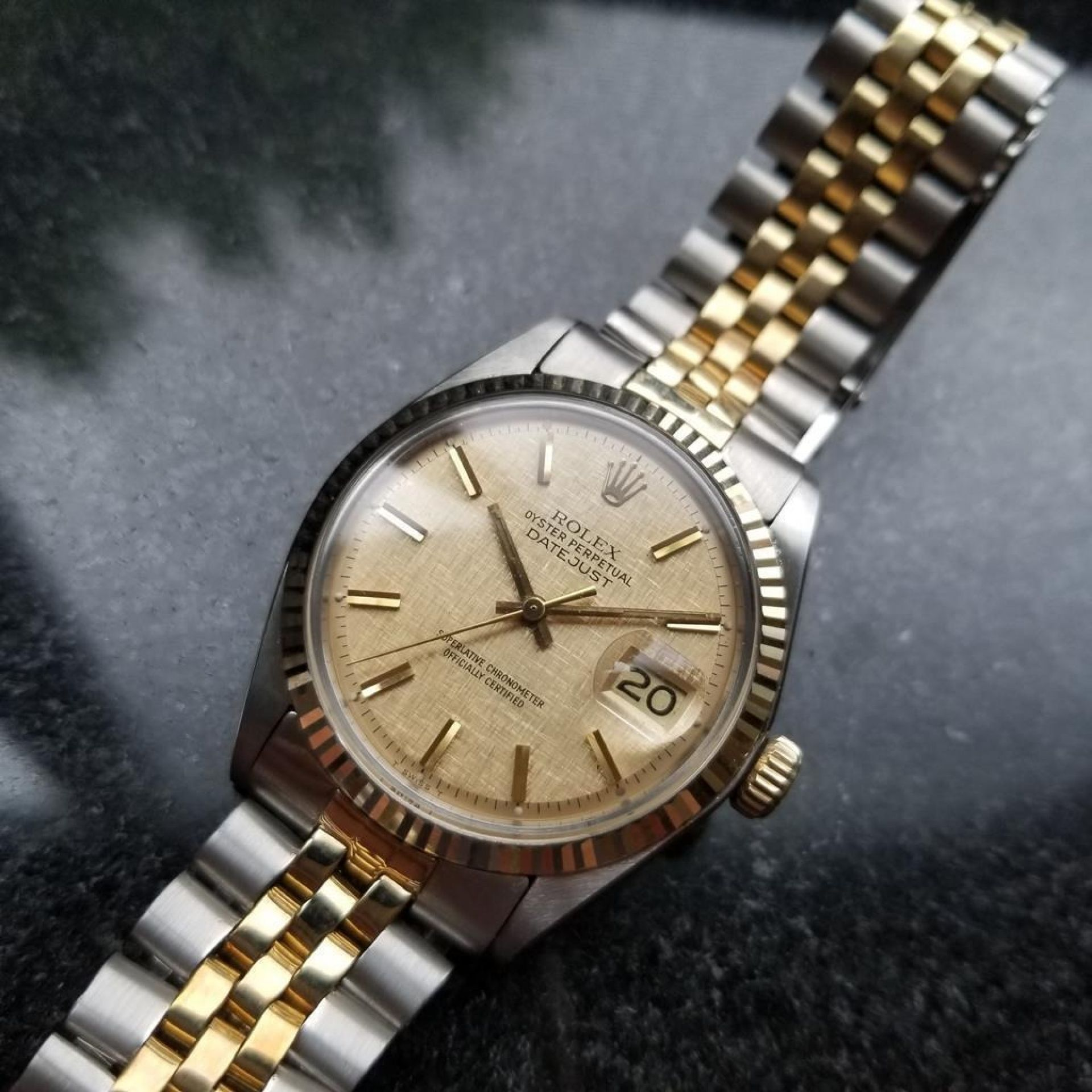 ROLEX MENS DATEJUST GOLD DIAL 18K STAINLESS STEEL WATCH T2K2