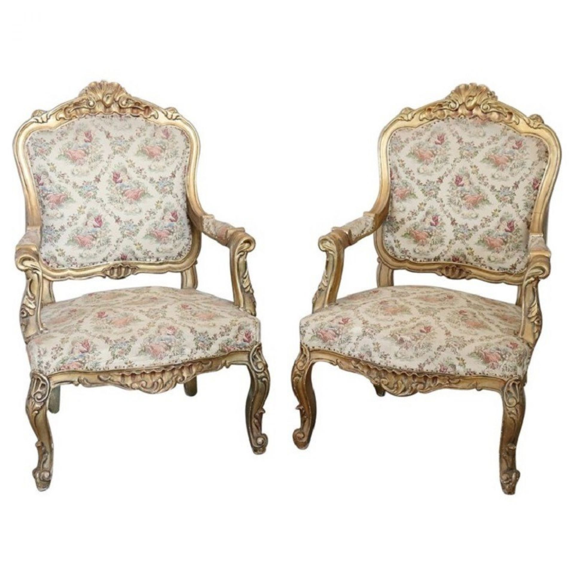 20th Century Italian Baroque Style Gilded Wood Pair of Armchairs