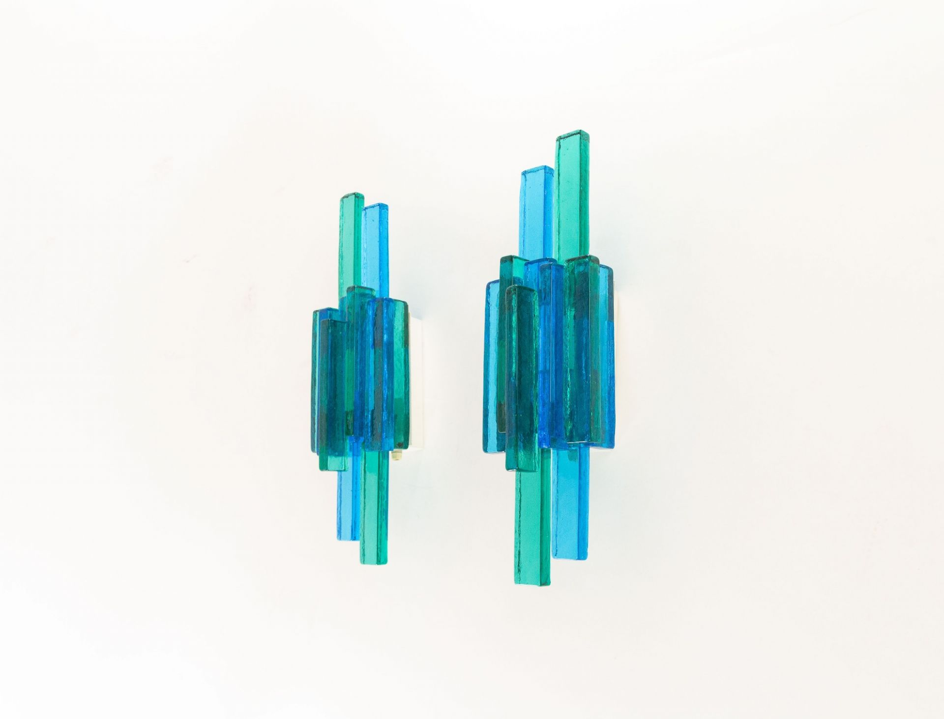 Pair of blue wall lamps designed by Svend Aage Holm Sørensen, 1960s