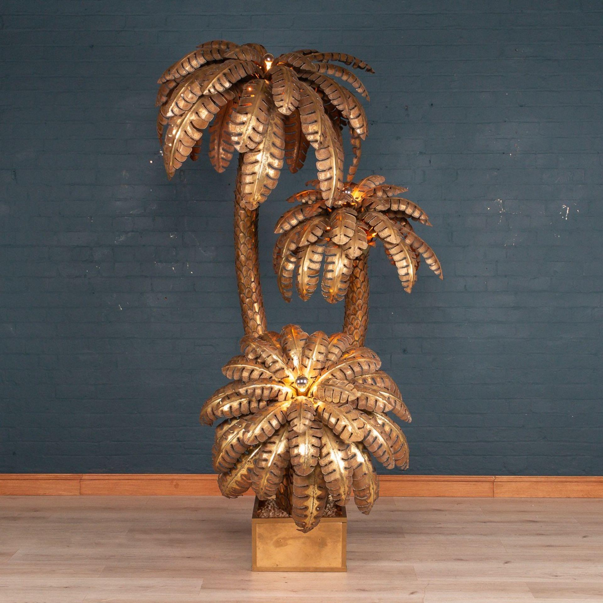 HUGE 20thC PALM TREE FLOOR LAMP BY MAISON JANSEN, FRANCE c.1970