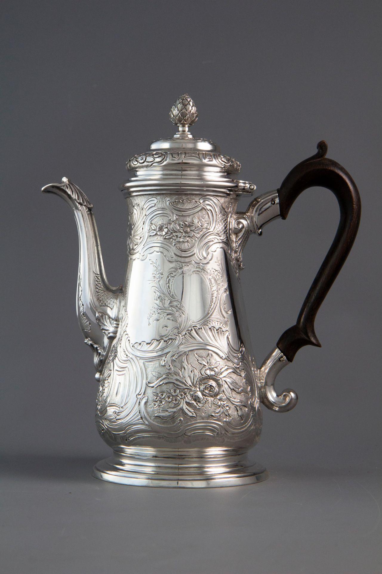 A Very Fine George II Silver Coffee Pot London 1743 by Gabriel Sleath