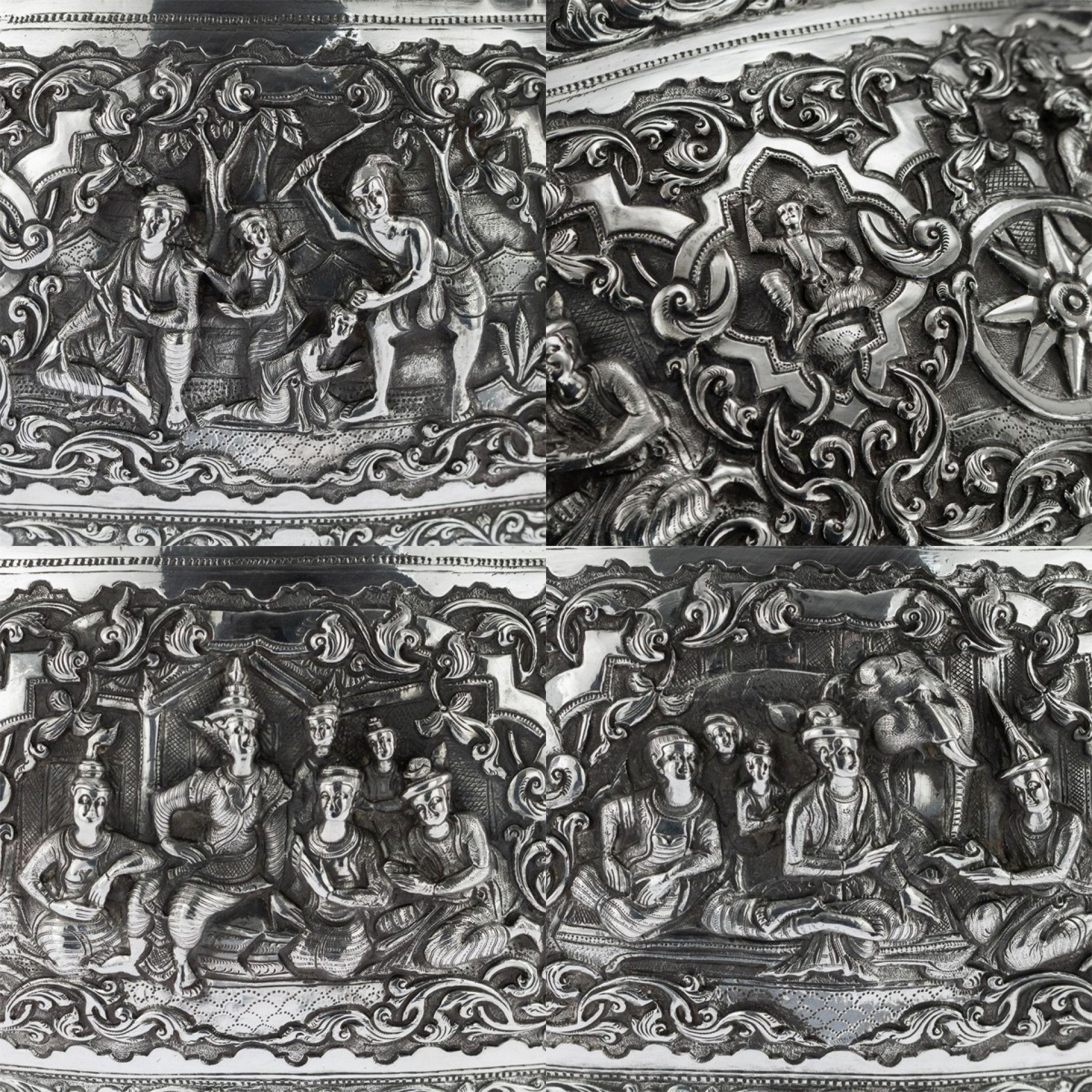 ANTIQUE 20thC MONUMENTAL BURMESE SOLID SILVER THABEIK BOWL, RANGOON c.1900