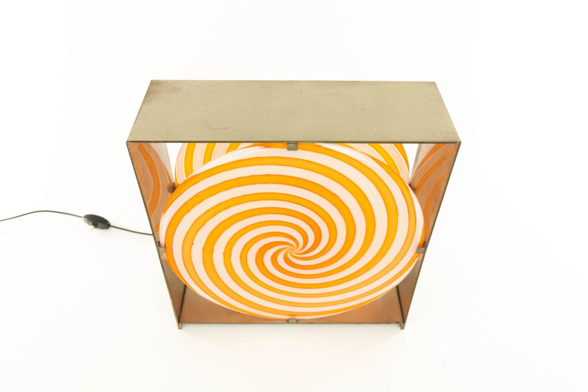 Orange spiral table lamp LT 217 in Murano glass by Carlo Nason for A.V. Mazzega