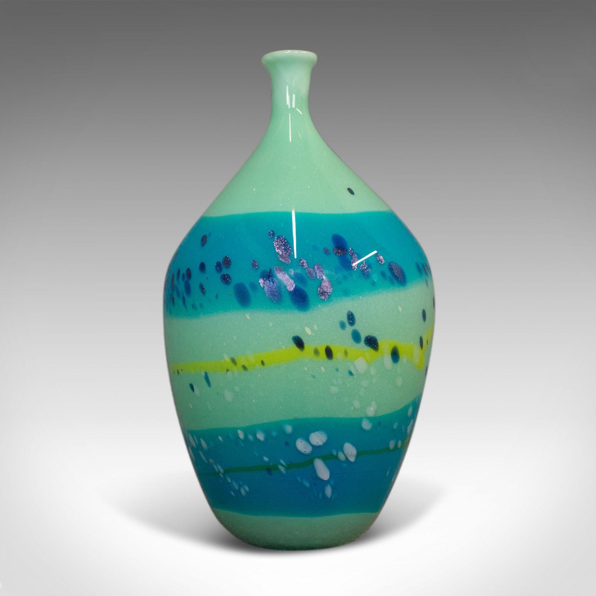 Decorative Stem Vase, English, Glass, Art Vase, Aquatic Overtones, C20th