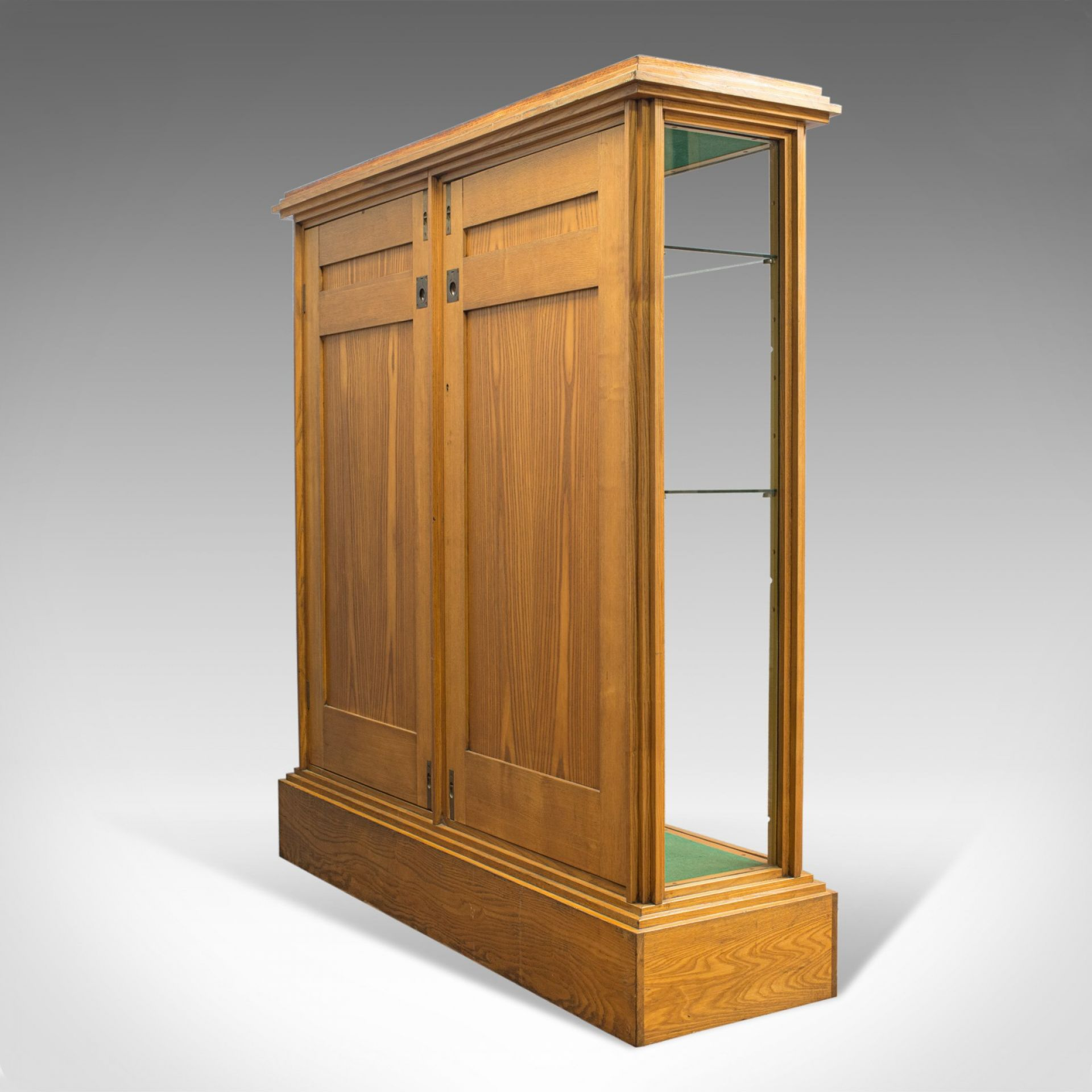 Antique Shop Display Cabinet, English, Victorian Fitting, Ash, Fitting, c.1900