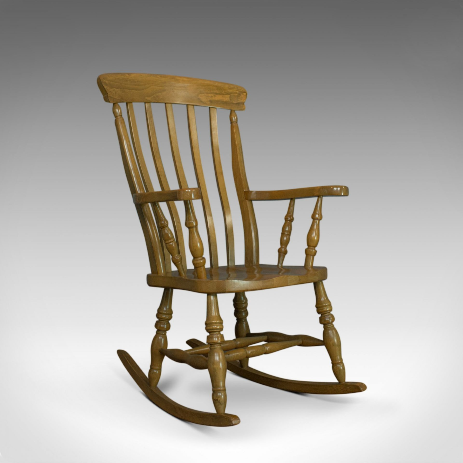 Vintage Windsor Rocking Chair, English, Beech, Armchair, Late C20th