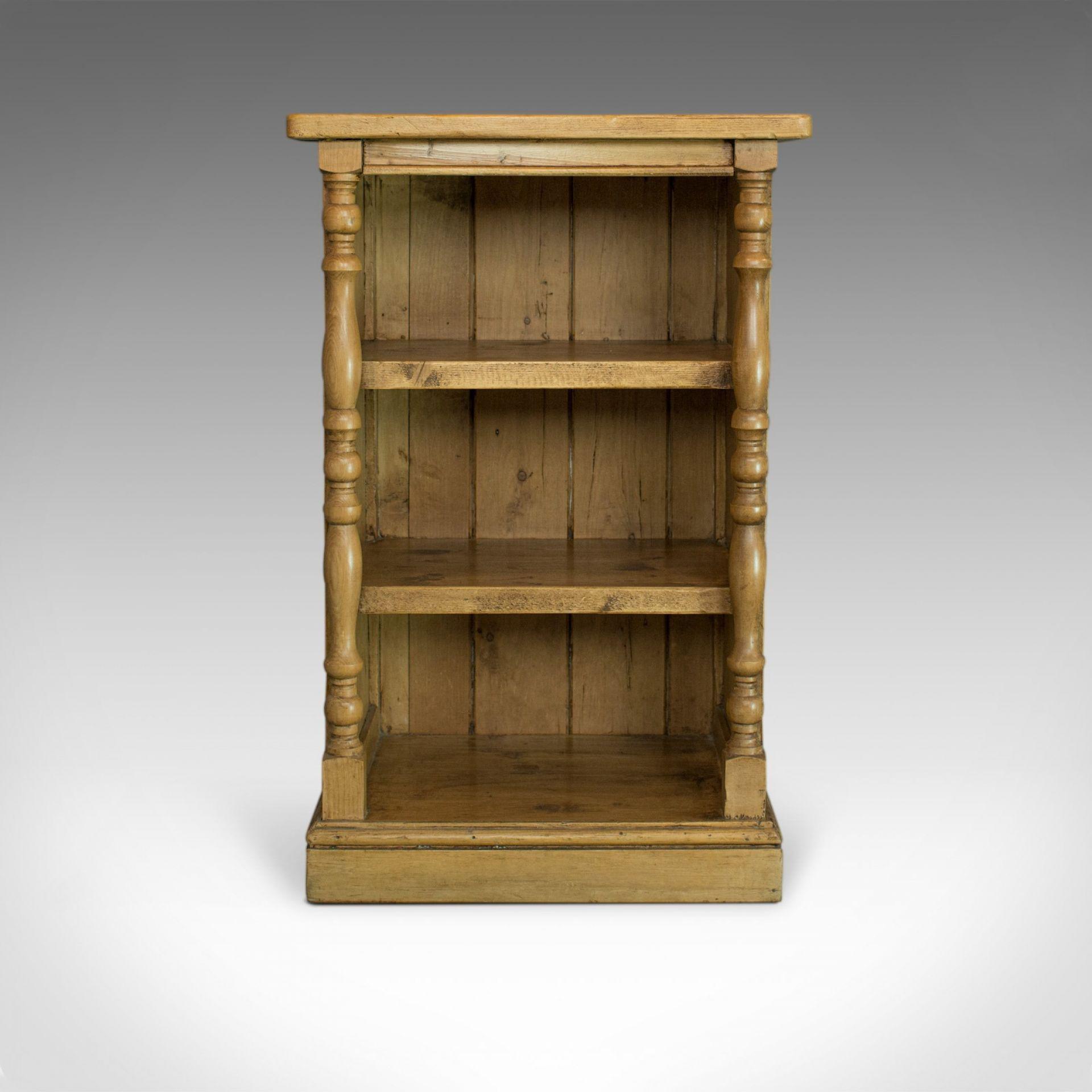 Antique Pine Open Bookcase, Narrow, English, Victorian, Bookshelf, Circa 1900