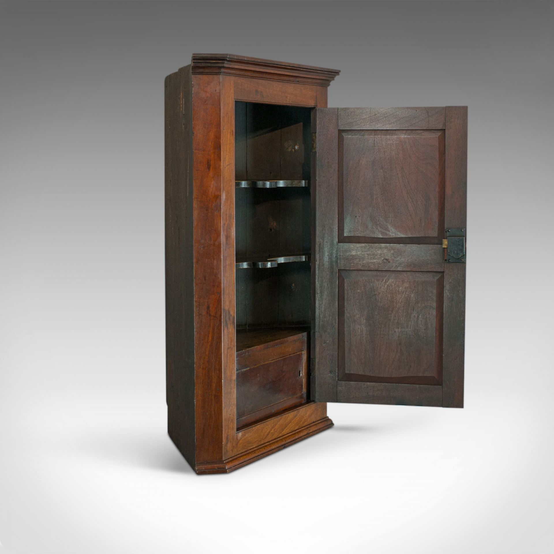 Antique Corner Cabinet, English, Georgian, Mahogany, Cupboard, Circa 1800