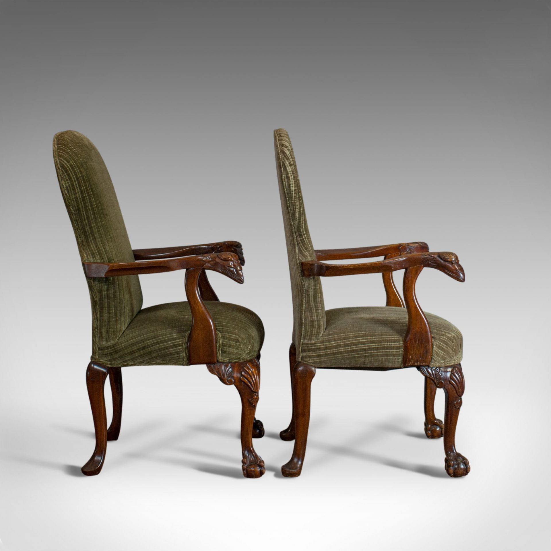 Pair of Victorian Revival Elbow Chairs, Mahogany, Lounge, Armchairs C20th