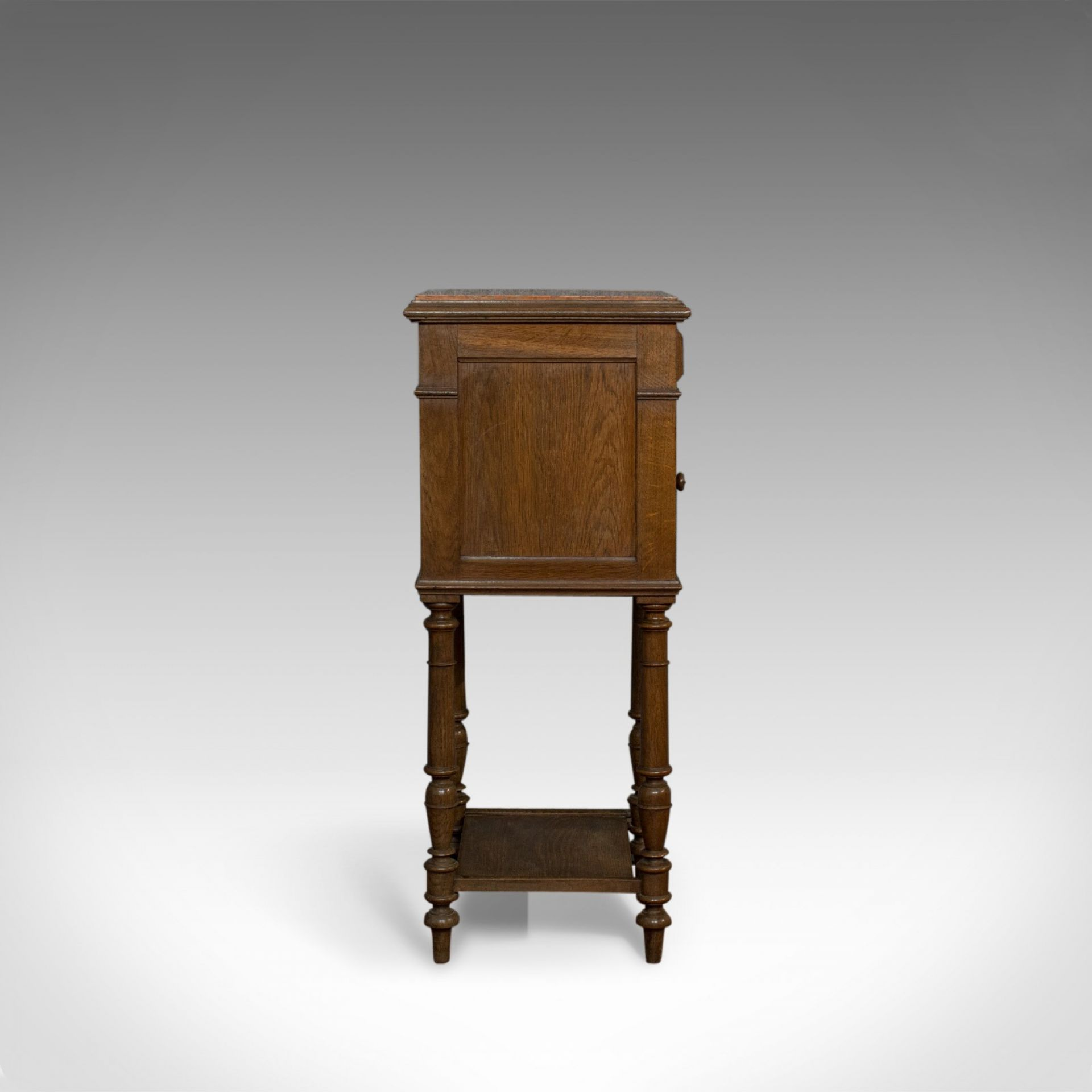 Antique Bedside Cabinet, French, Oak, Marble, Lamp, Side, Circa 1950