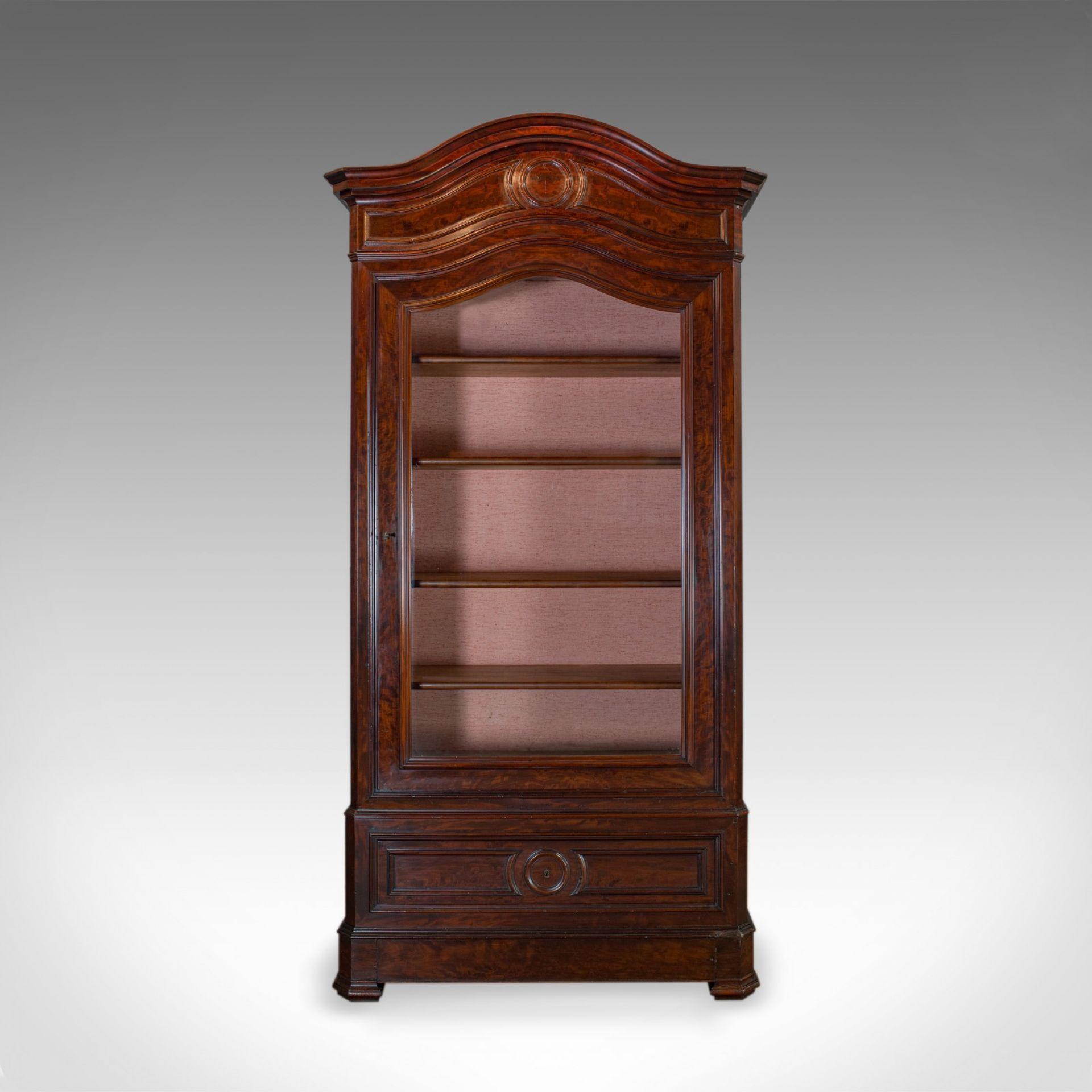 Antique Display Cabinet, Victorian, Flame Mahogany Vitrine, Circa 1850
