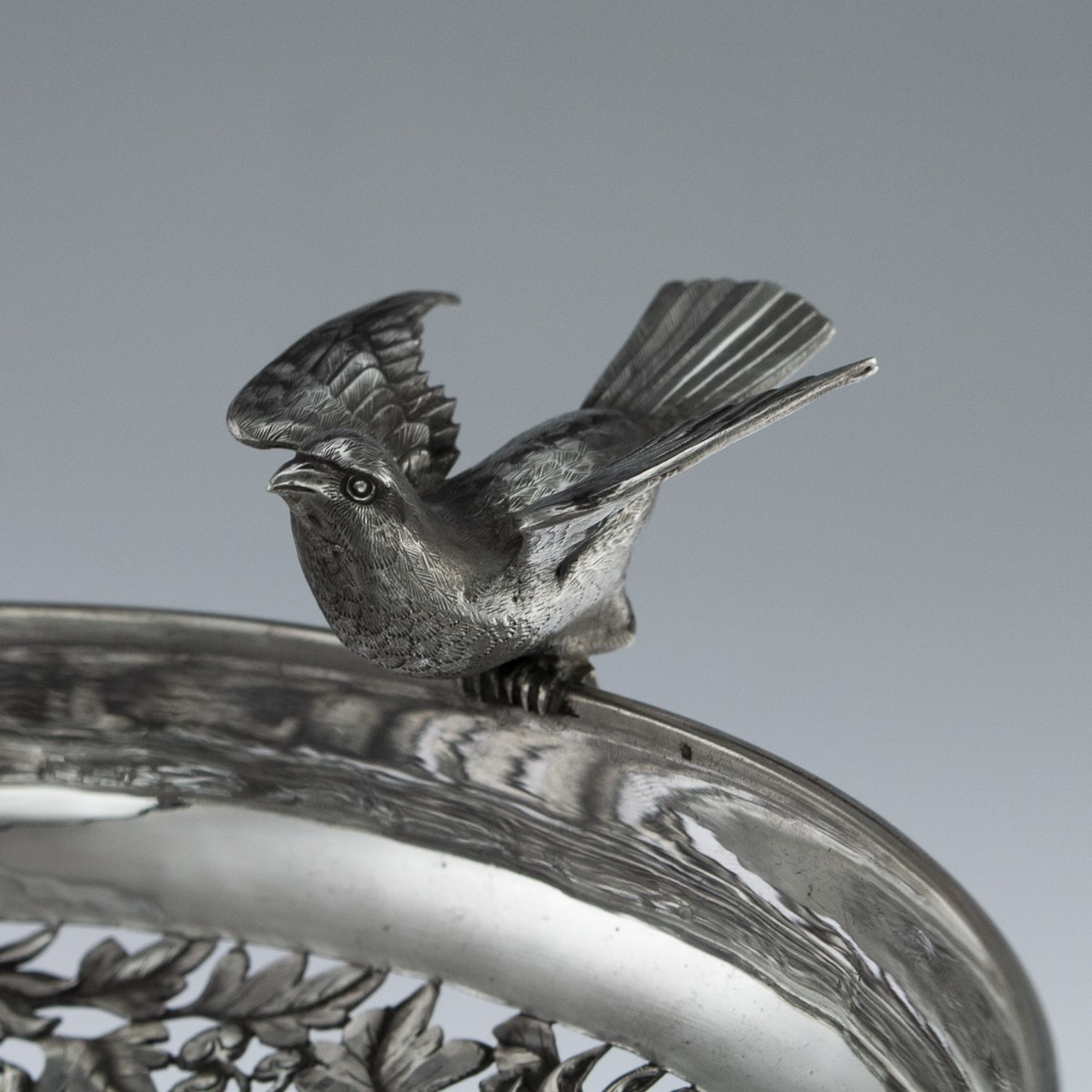 ANTIQUE 19thC CHINESE EXPORT SOLID SILVER TAZZA, WOSHING, SHANGHAI c.1880