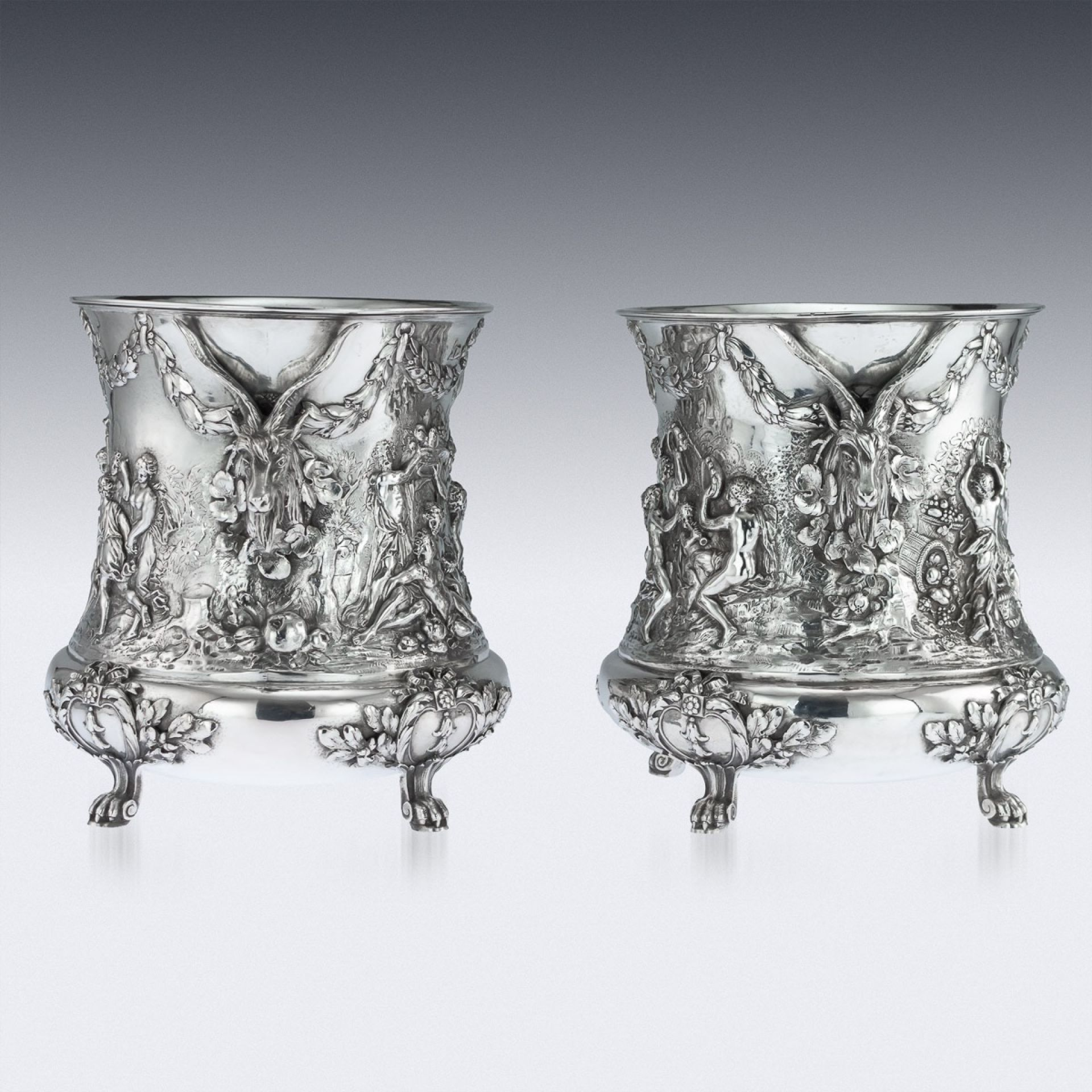 ANTIQUE 19thC GERMAN SOLID SILVER WINE COOLERS, GEORG ROTH, HANAU c.1890