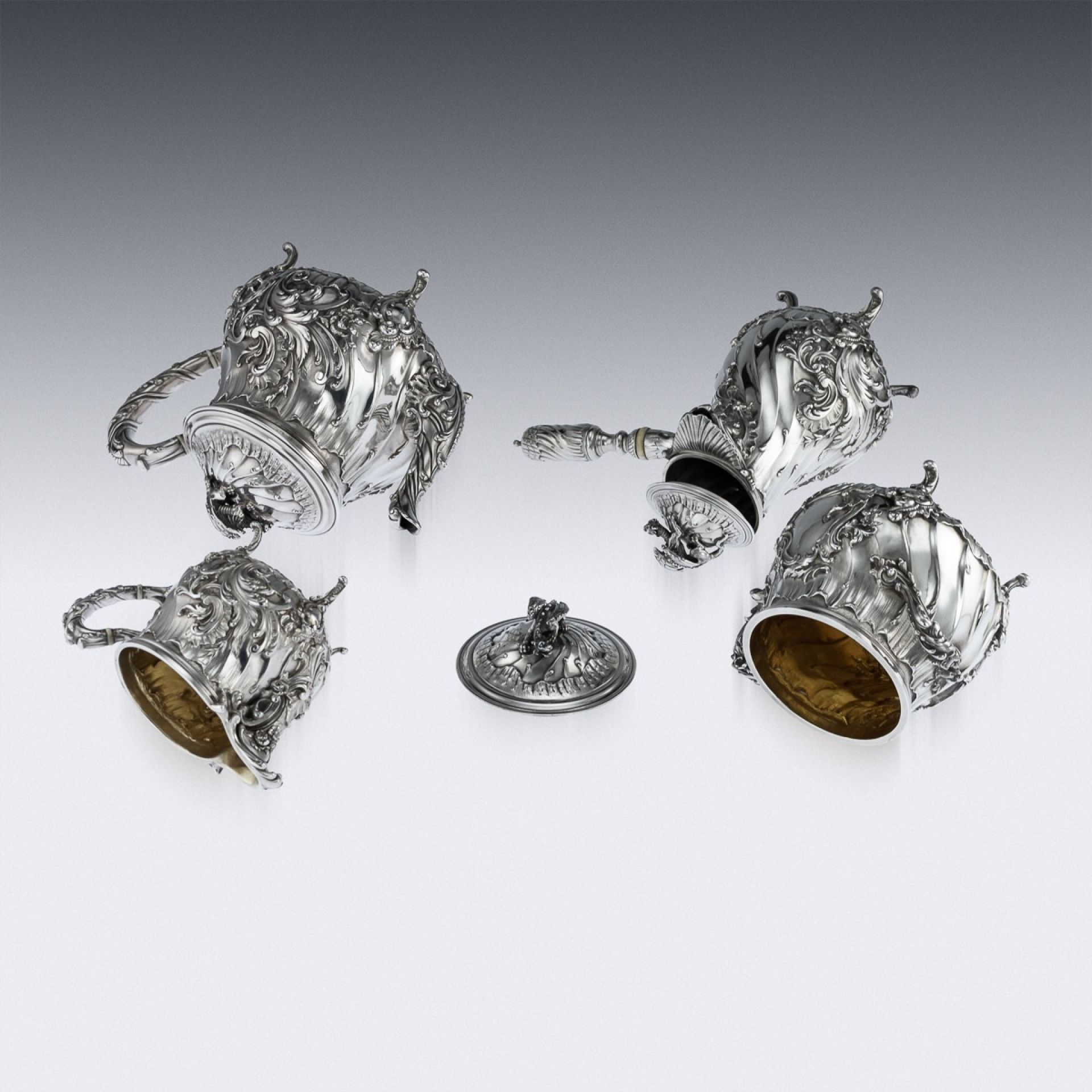 ANTIQUE 19thC FRENCH SOLID SILVER FOUR PIECE TEA & COFFEE SERVICE c.1886