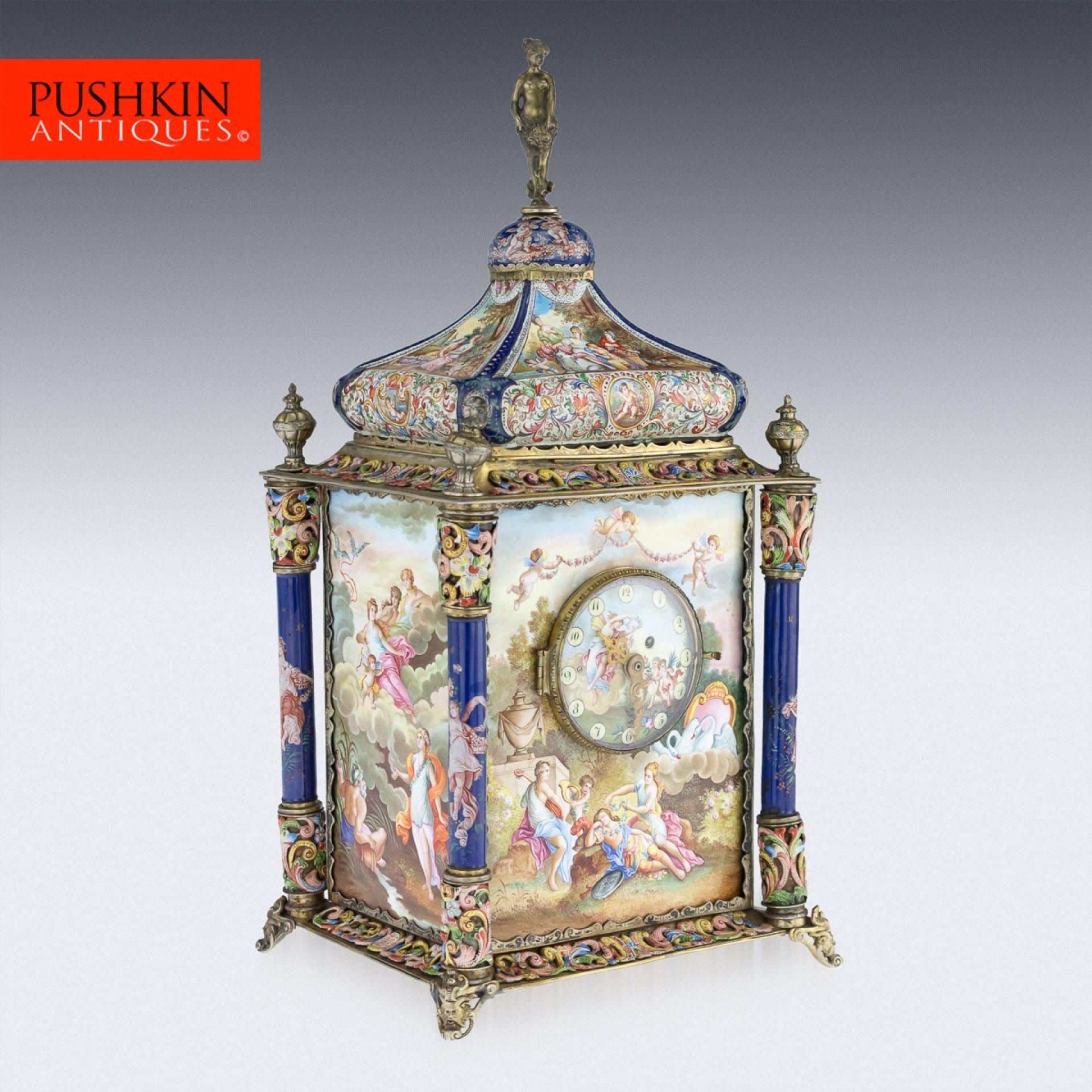 ANTIQUE 19thC AUSTRIAN SILVER-GILT & ENAMEL MANTEL CLOCK, RUDOLF LINKE c.1890