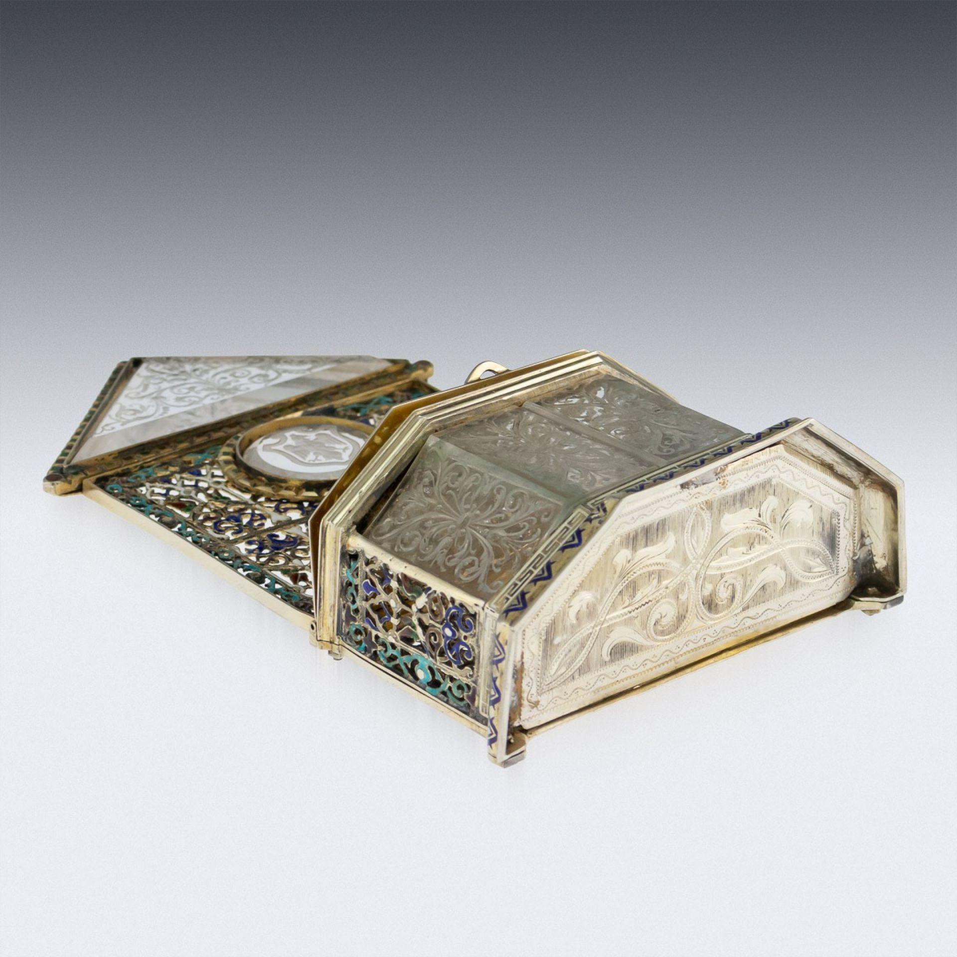 ANTIQUE 19thC AUSTRIAN SOLID SILVER-GILT & ENAMEL RELIQUARY, RUDOLF LINKE c.1890