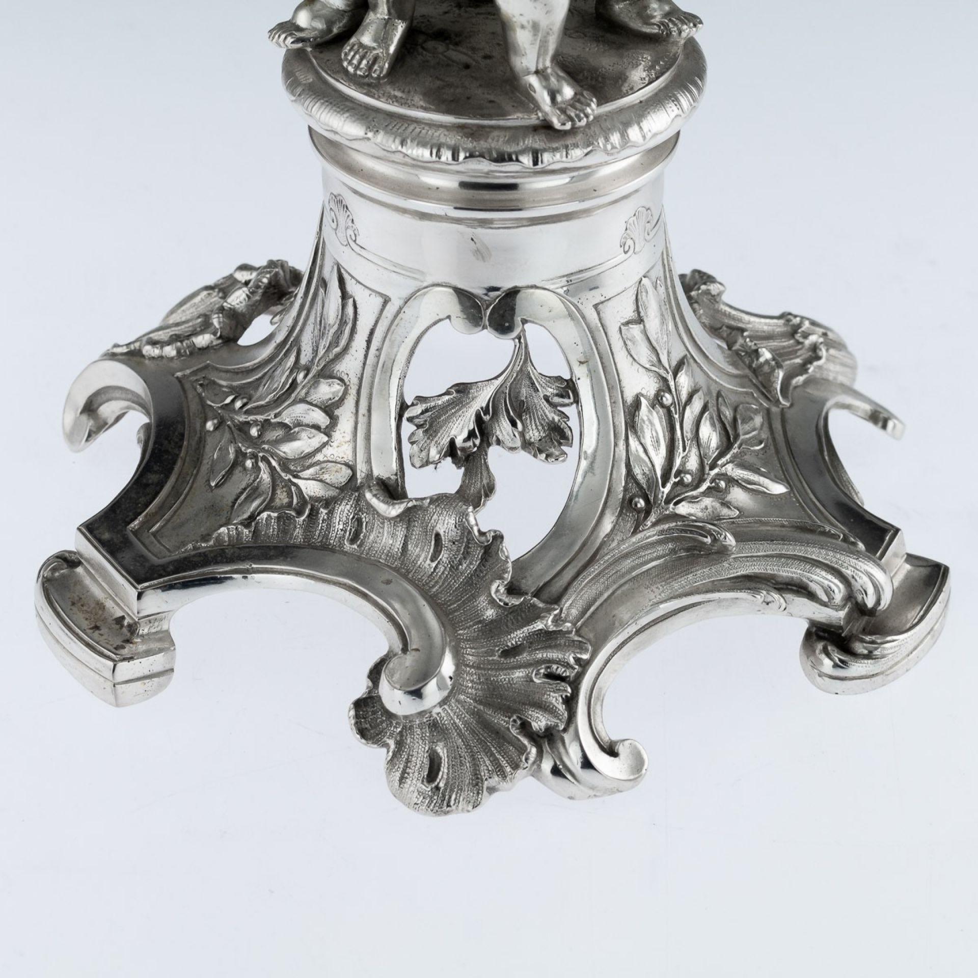 ANTIQUE 19thC AUSTRIAN SOLID SILVER PAIR CANDELABRA, WURBEL & SZOKALLY c.1890