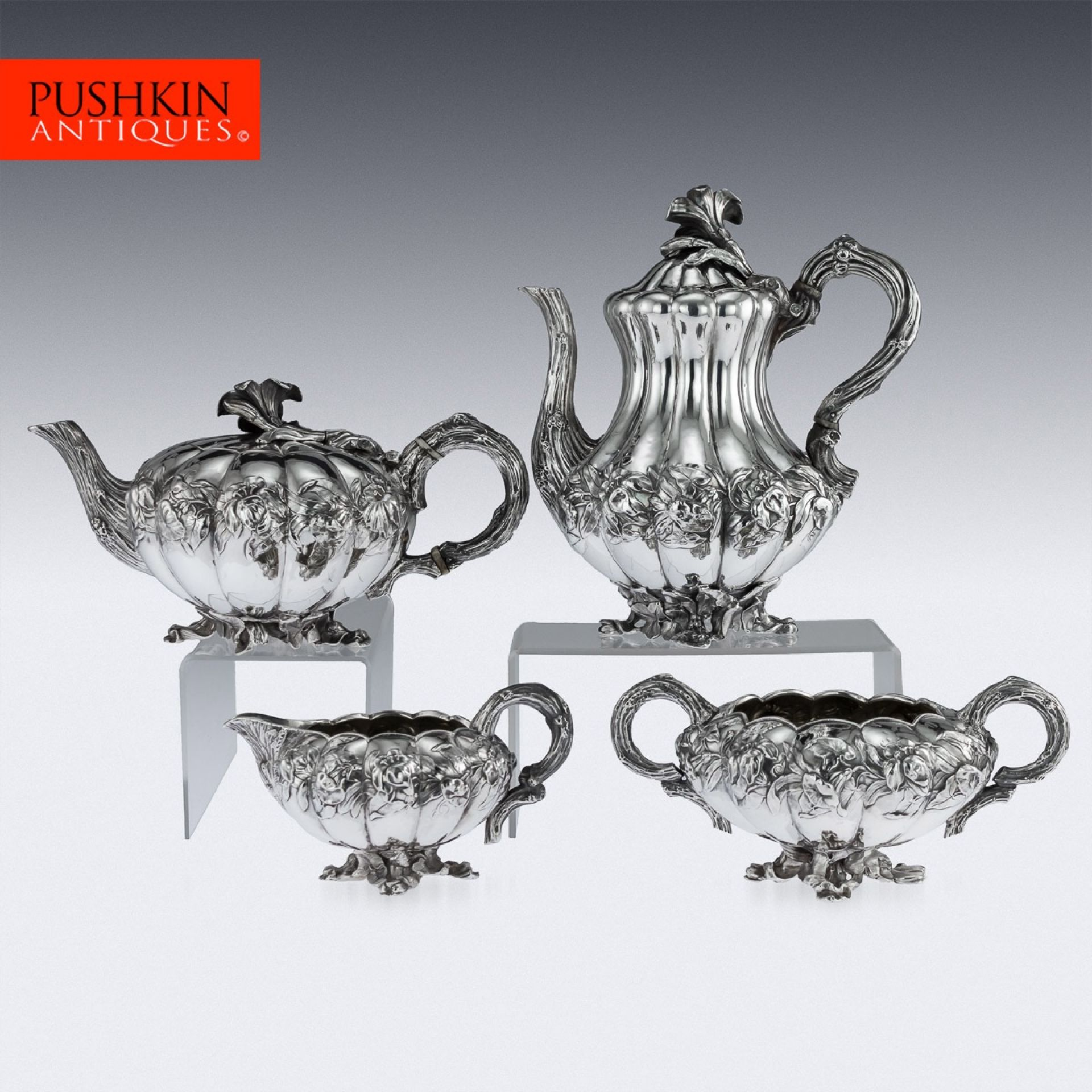 ANTIQUE 19thC REGENCY SOLID SILVER 4 PIECE TEA & COFFEE SERVICE, LONDON c.1831