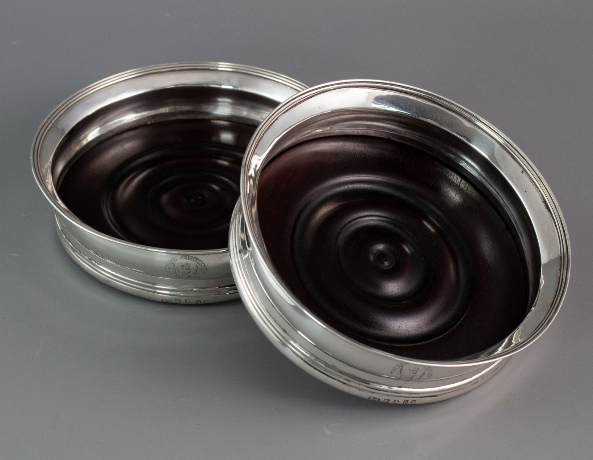 A Very fine pair of Georgian Silver Wine Coasters London 1797 by Stephen Adams