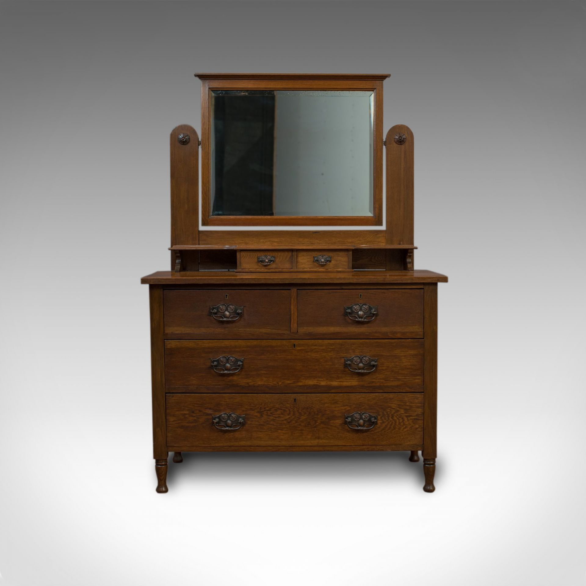 Antique Dressing Table, Ray and Miles, Edwardian, Oak, Vanity Chest, Circa 1910