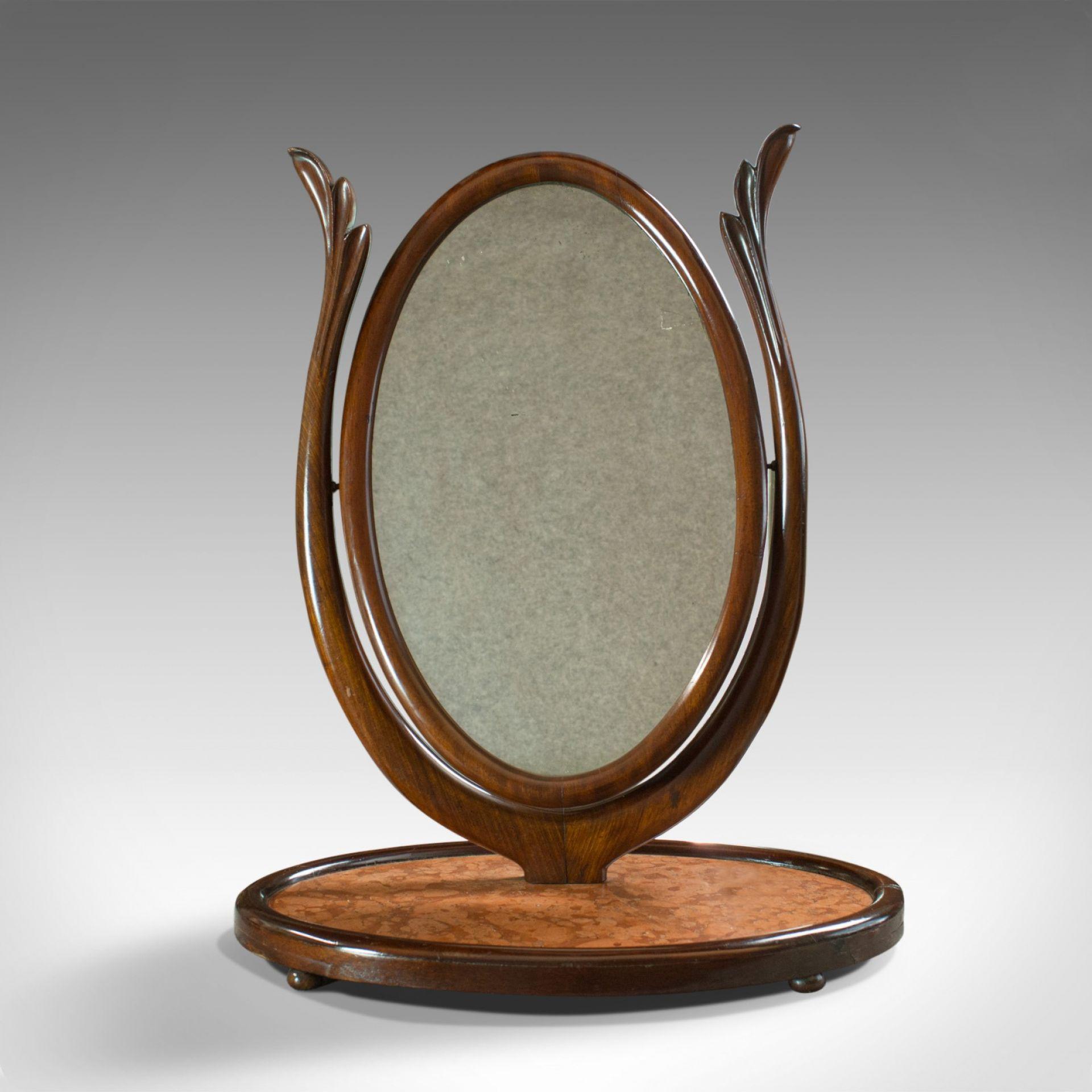 Antique Platform Mirror, Regency, Mahogany, Vanity, Toilet, Swing, Circa 1830
