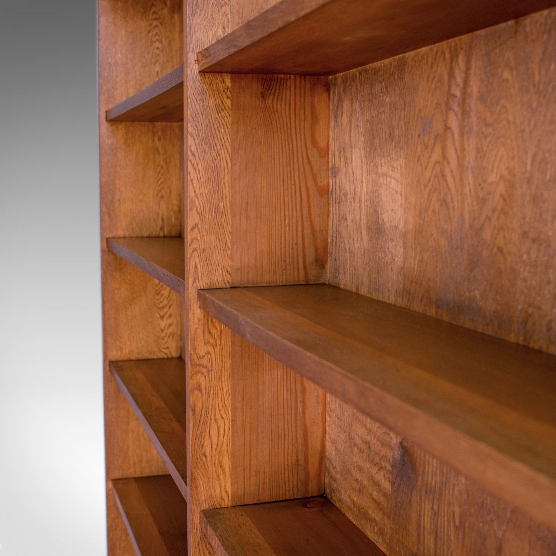 Antique Library Bookshelf, Pitch Pine, Double-Sided Bookcase, Room Divider c1910