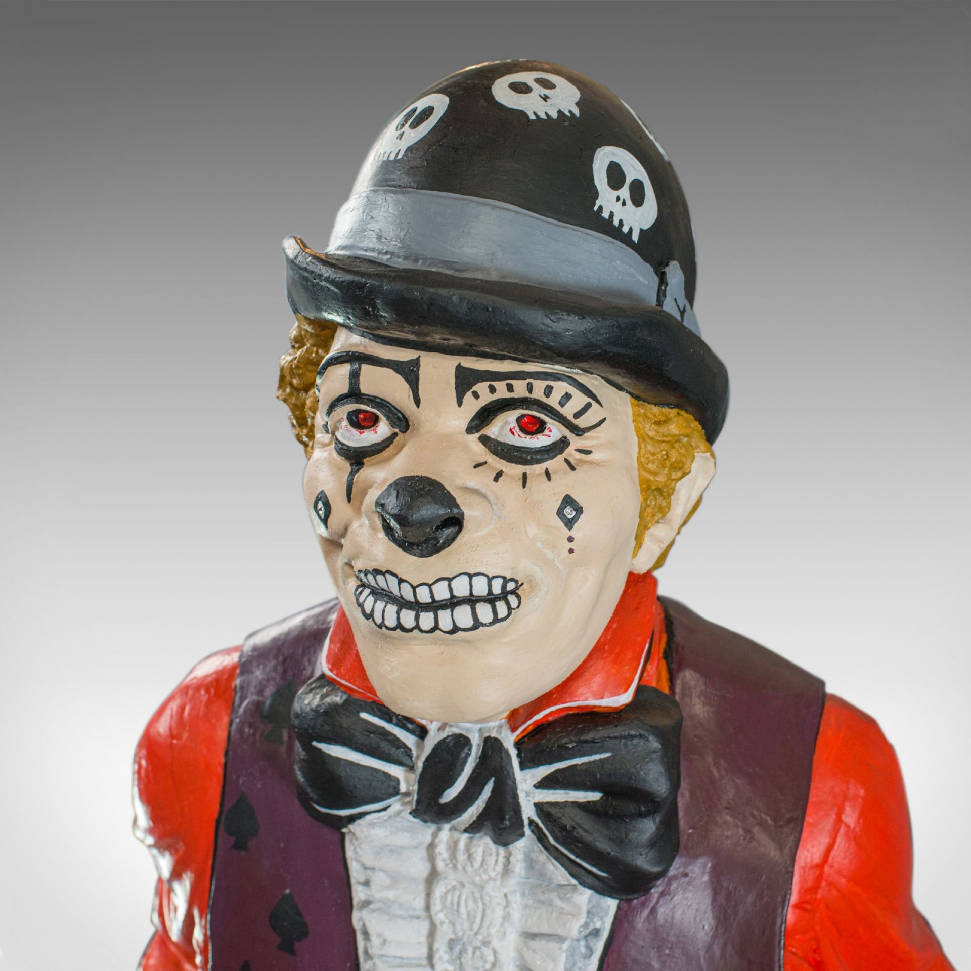 Life Size Vintage Clown Statue, English, Plaster, Day of the Dead, mid C20th