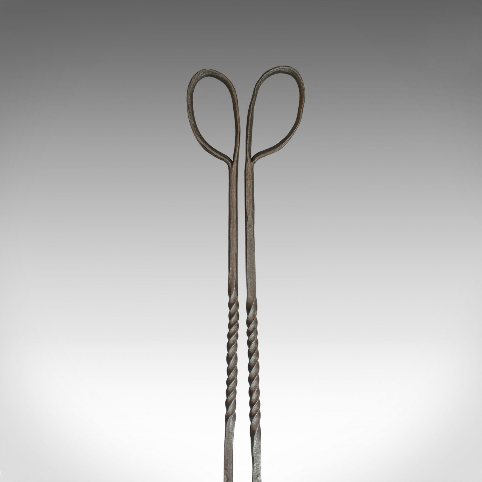 Antique Pair of Large Fire Tongs, Georgian, Hand Forged Iron, Stirrup circa 1800