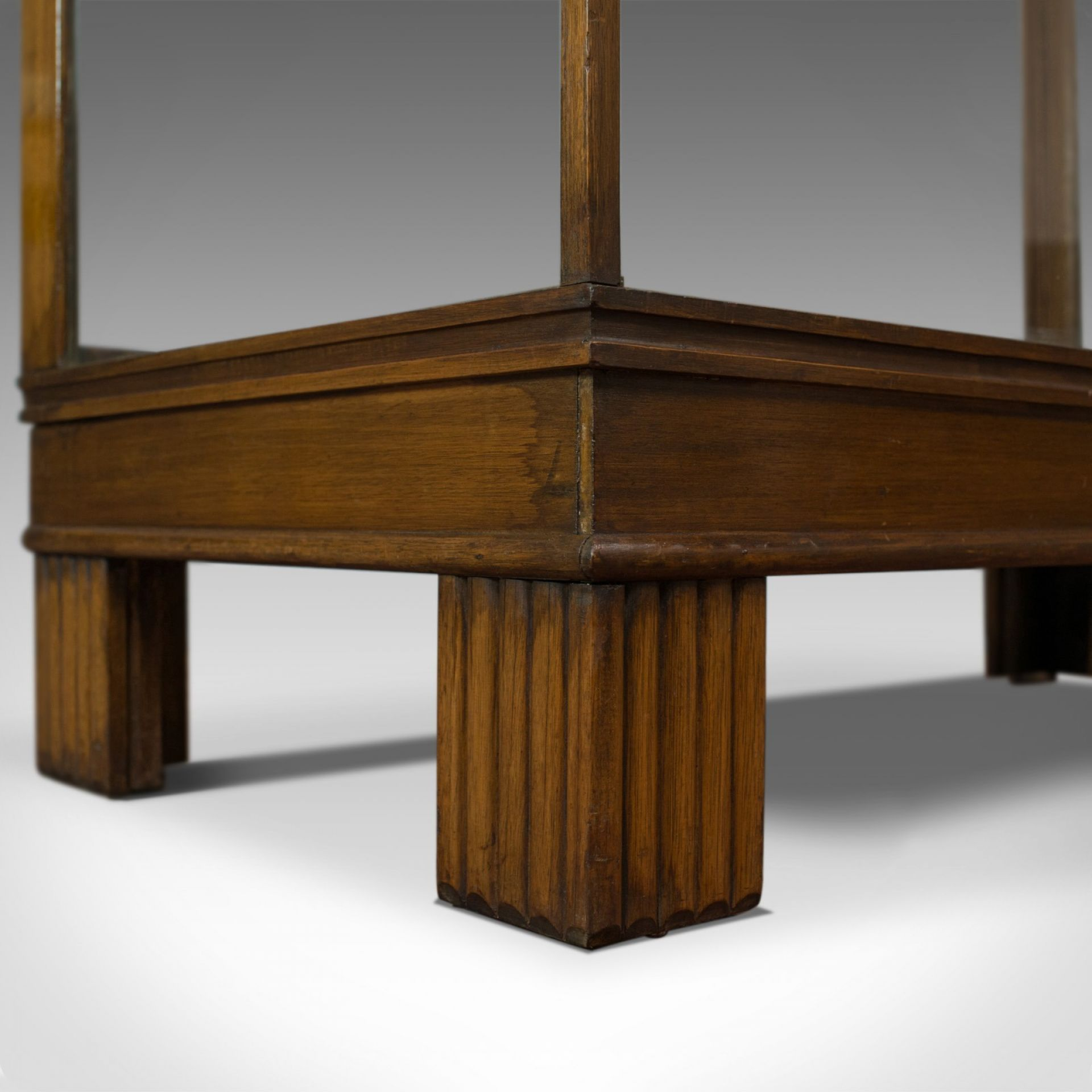 Antique Shop Display Cabinet, English, Art Deco Oak Showcase, Shop Fitting c1930