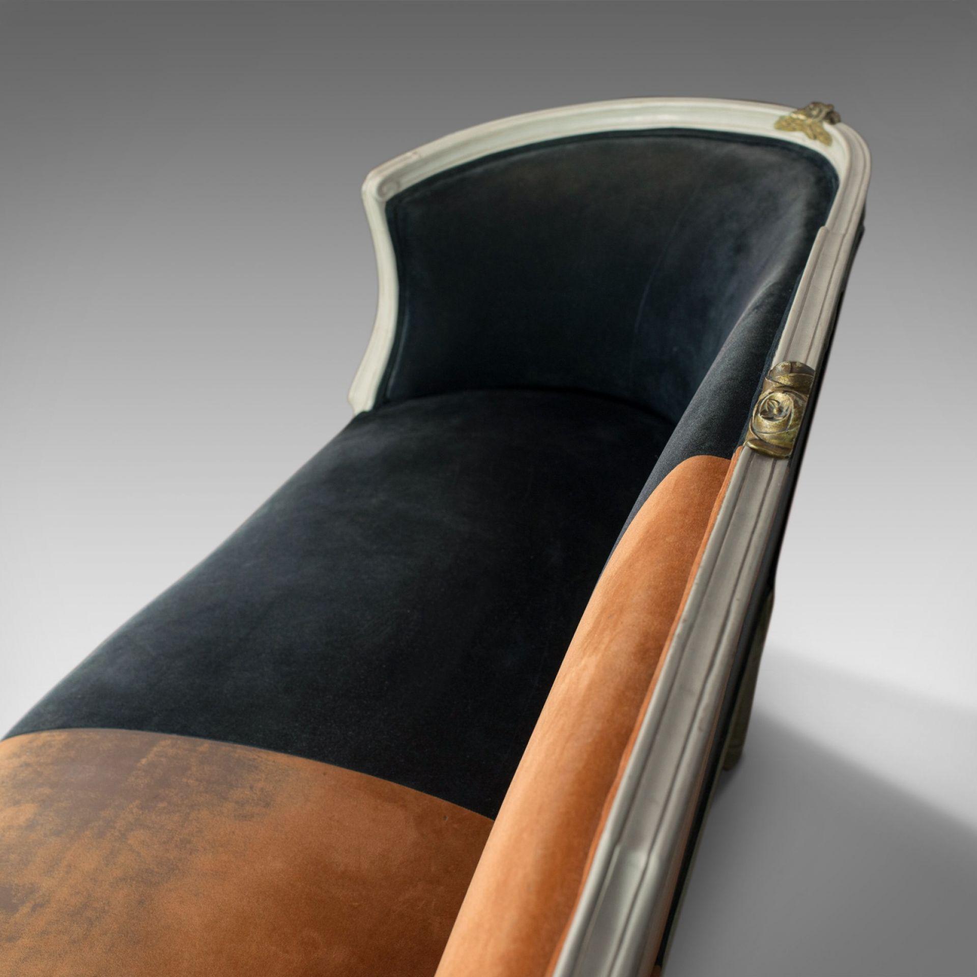 Vintage Canape Sofa, Louis XV Taste, French, Beech, Velour, Two Tone, Circa 1930