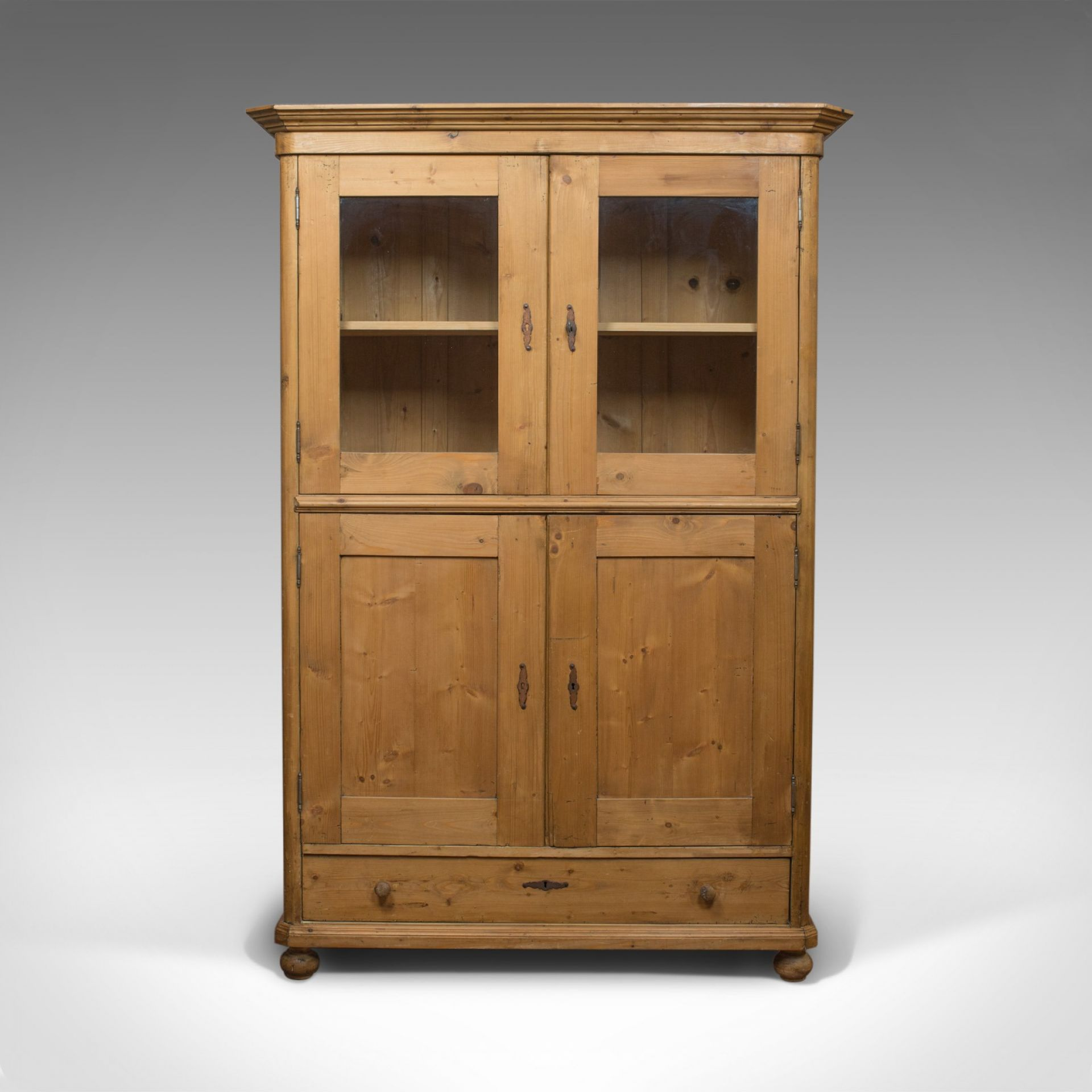 Vintage Two Door Bookcase, Cabinet, French, Pine, Mid 20th Century, Circa 1960
