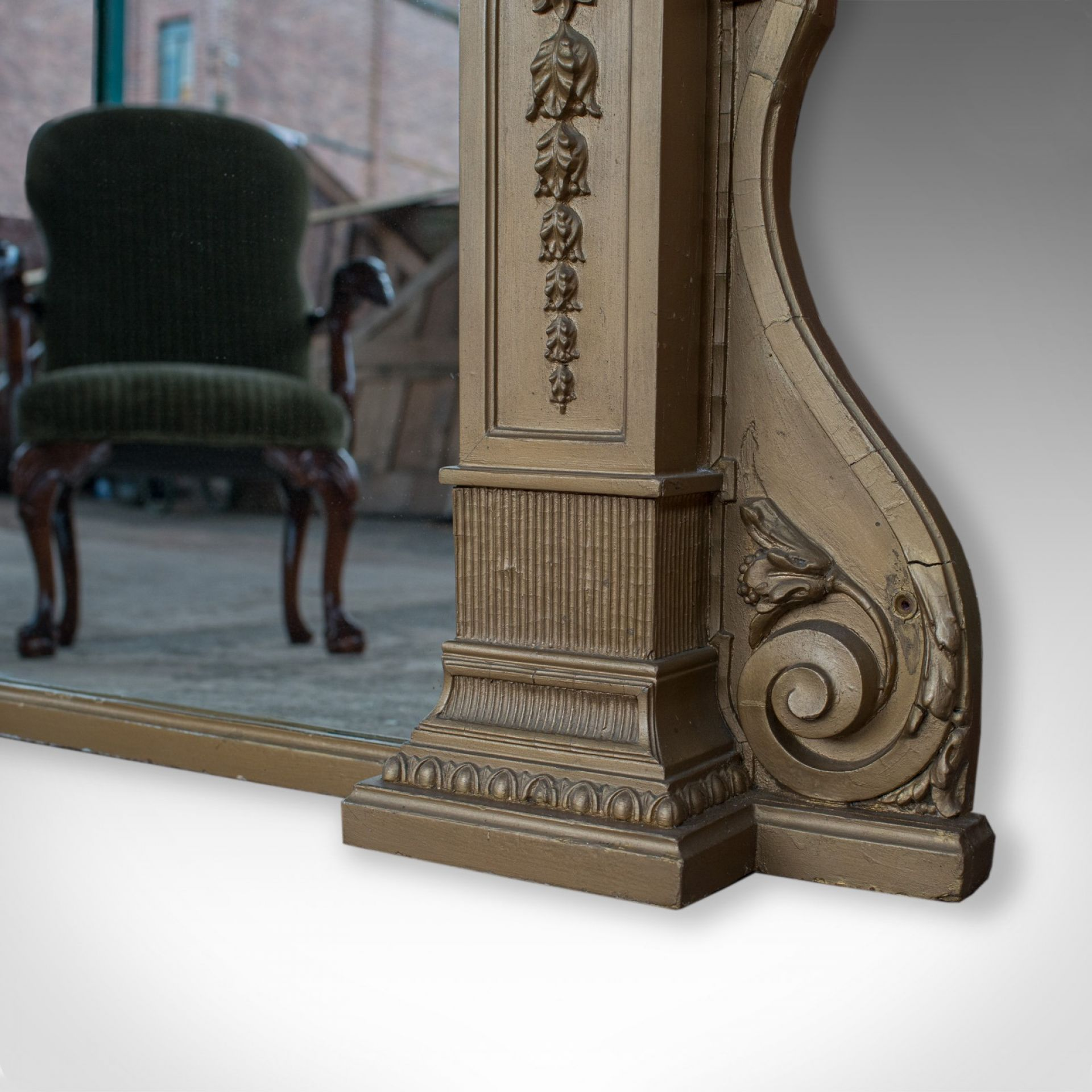 "Very Large Antique Overmantel Mirror, 230x189.5cm (7'5""x6'2"") Classical, c.1850"