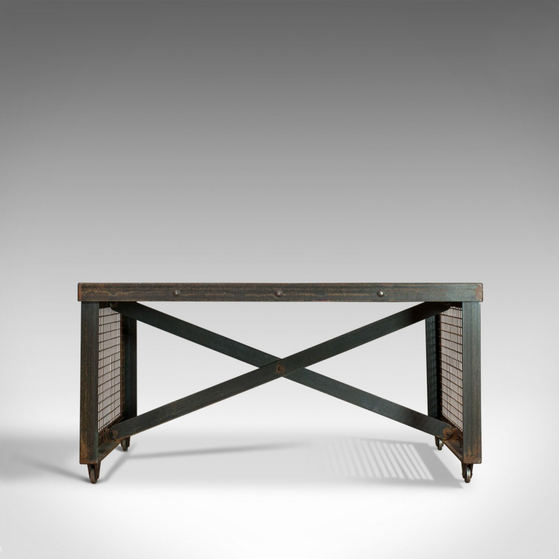 Vintage Industrial Coffee Table, English, Steel, Oak, 20th Century