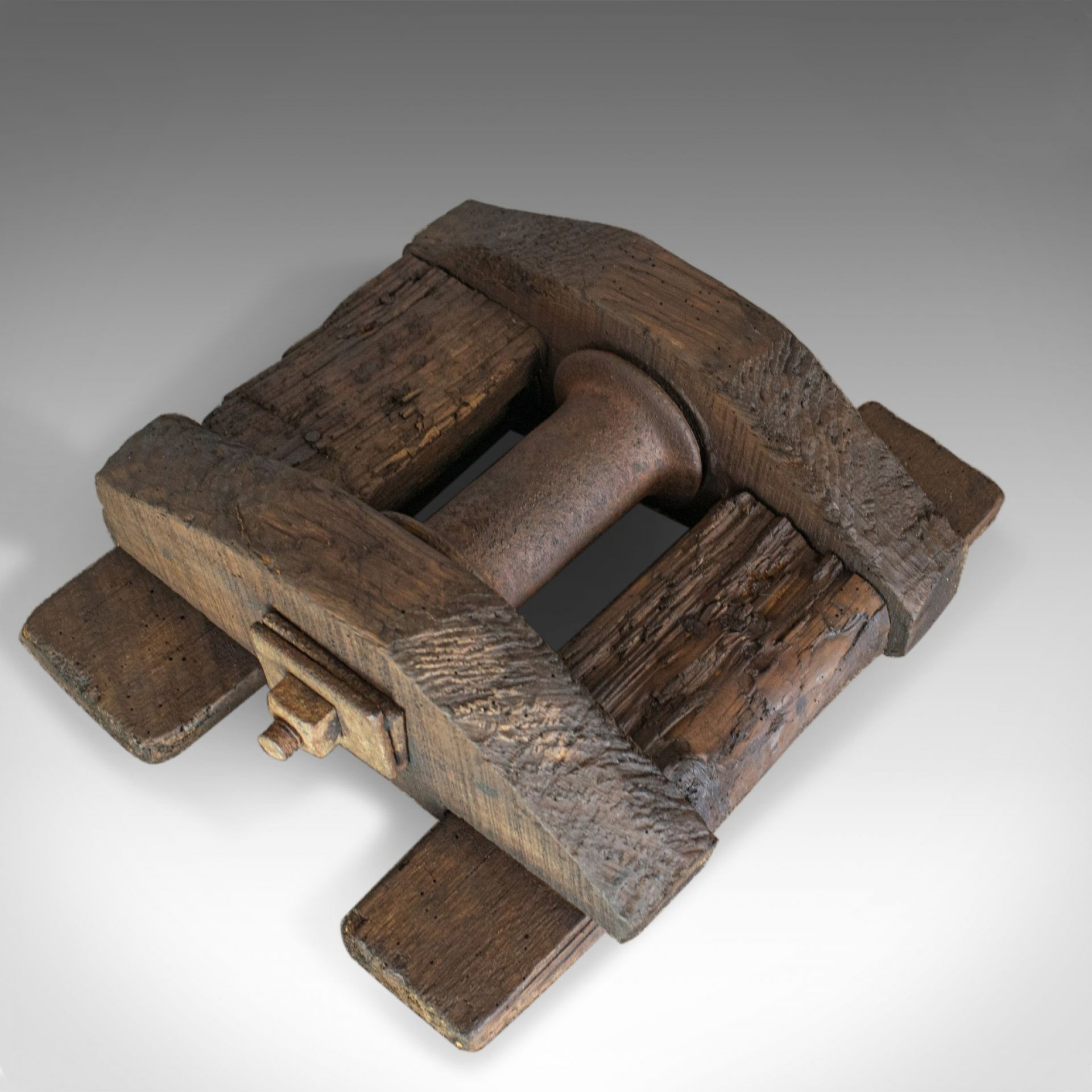 Antique Rope Pulley, English, Victorian, Rustic, Sleeper, Pine, Circa 1900