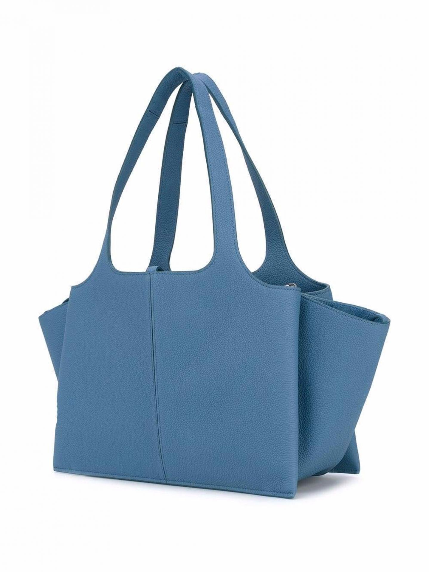 CELINE WOMENS BLUE GRAINED CALF LEATHER TRI-FOLD SHOULDER BAG