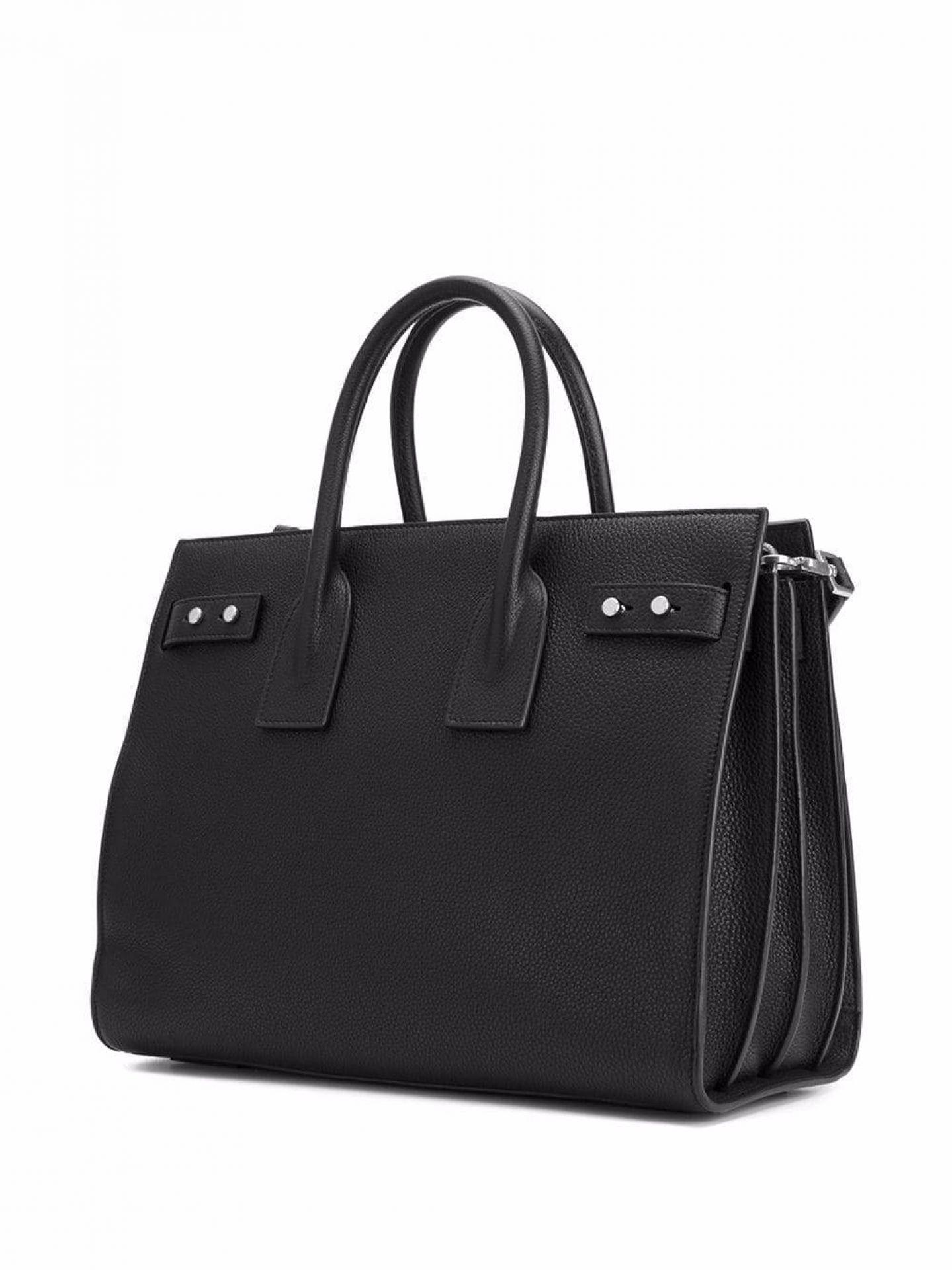 SAINT LAURENT WOMENS SMOOTH BLACK LEATHER SAC DE JOUR TOTE SHOULDER BAG