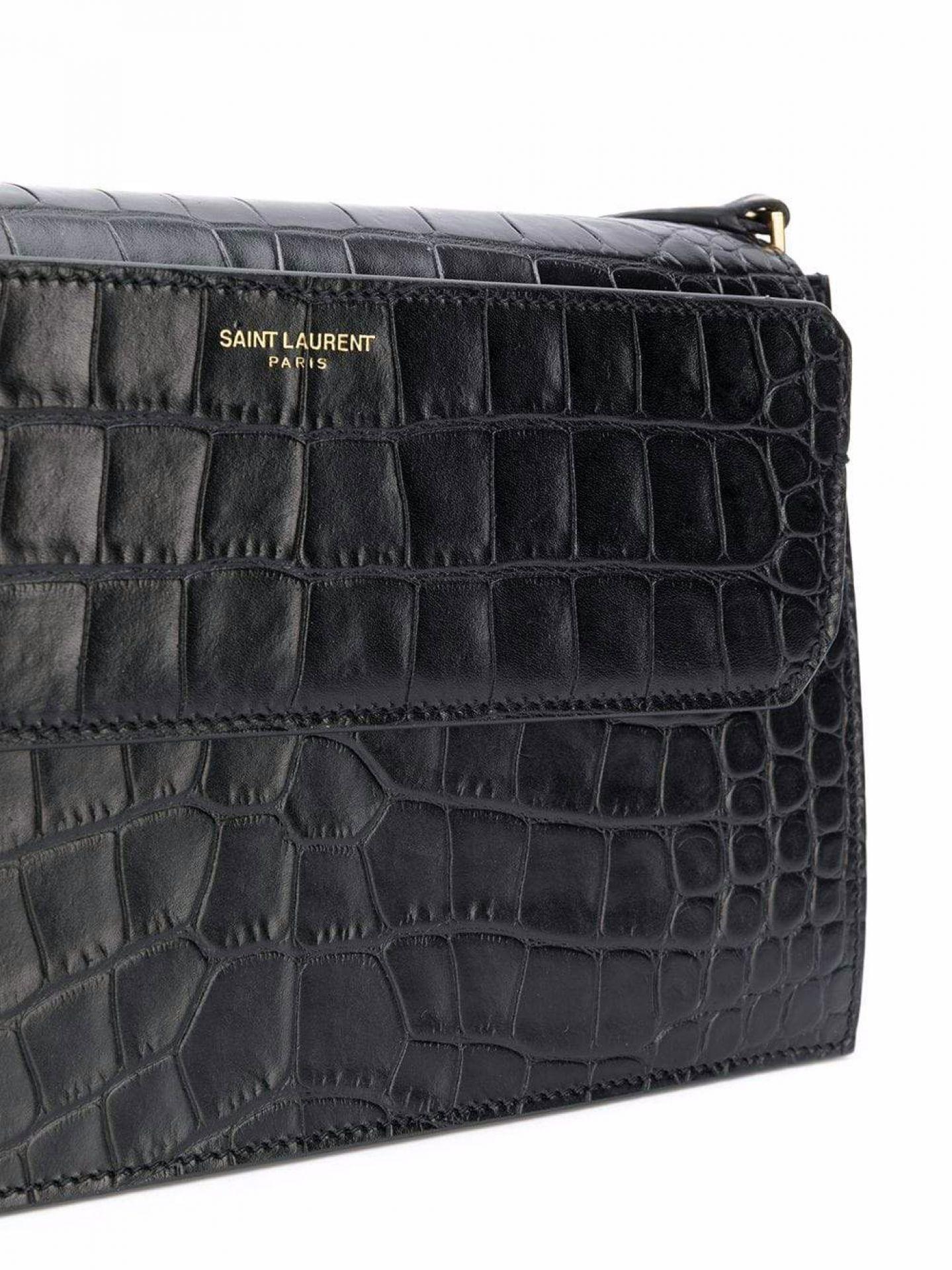 SAINT LAURENT WOMENS BLACK LEATHER CROC EMBOSSED CATHERINE SHOULDER BAG