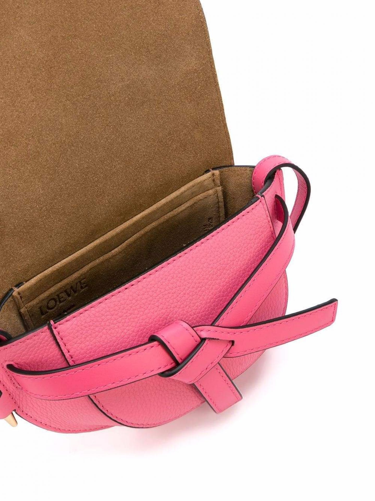 LOEWE WOMENS WILD ROSE PINK LEATHER GATE MINI SHOULDER BAG